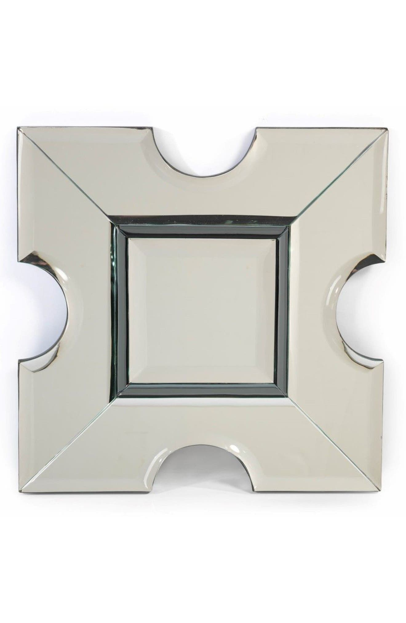 Square Wall Mirror,                             Main thumbnail 1, color,                             Grey/ Silver