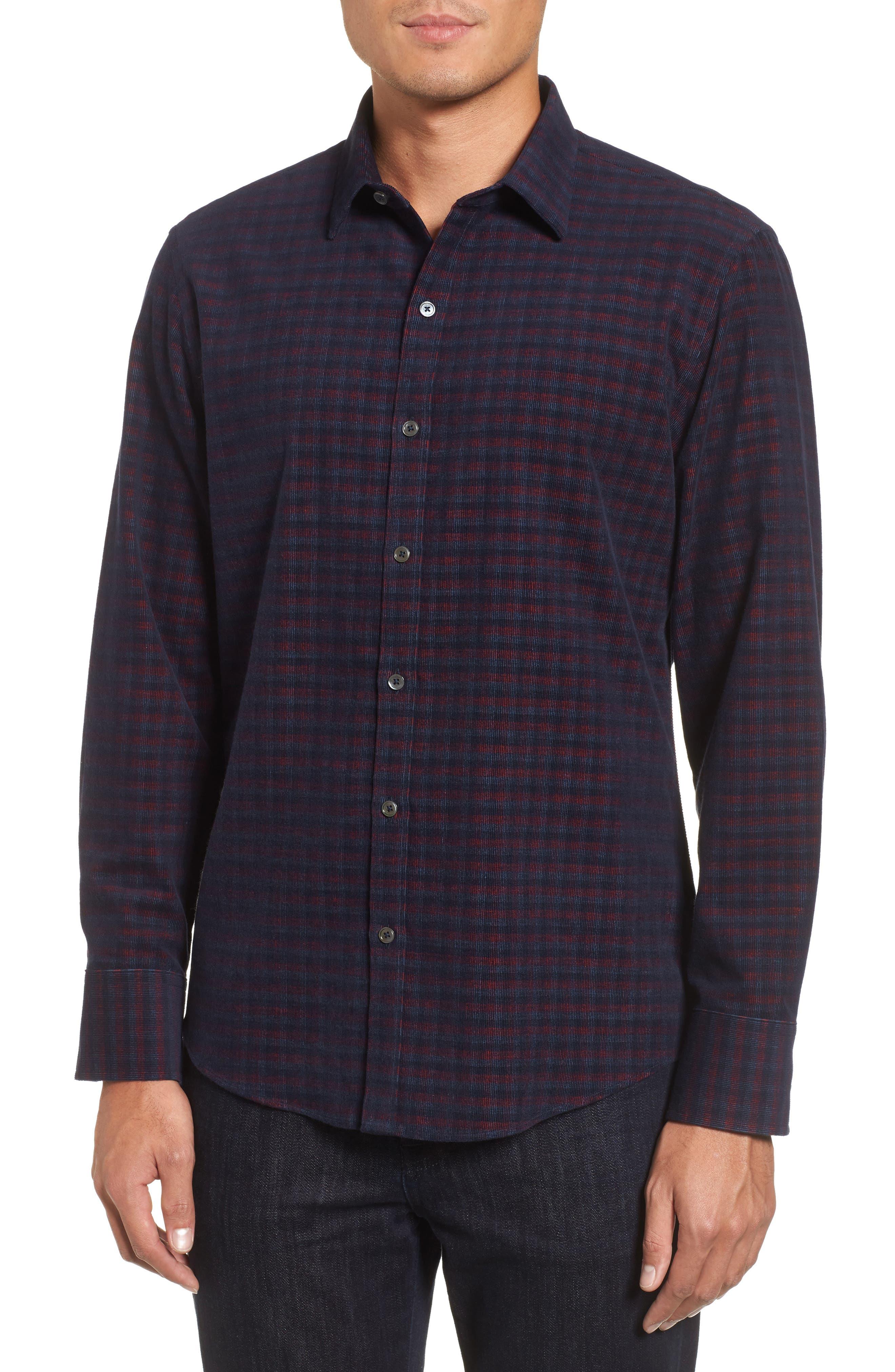 Byas Check Corduroy Sport Shirt,                         Main,                         color, Navy