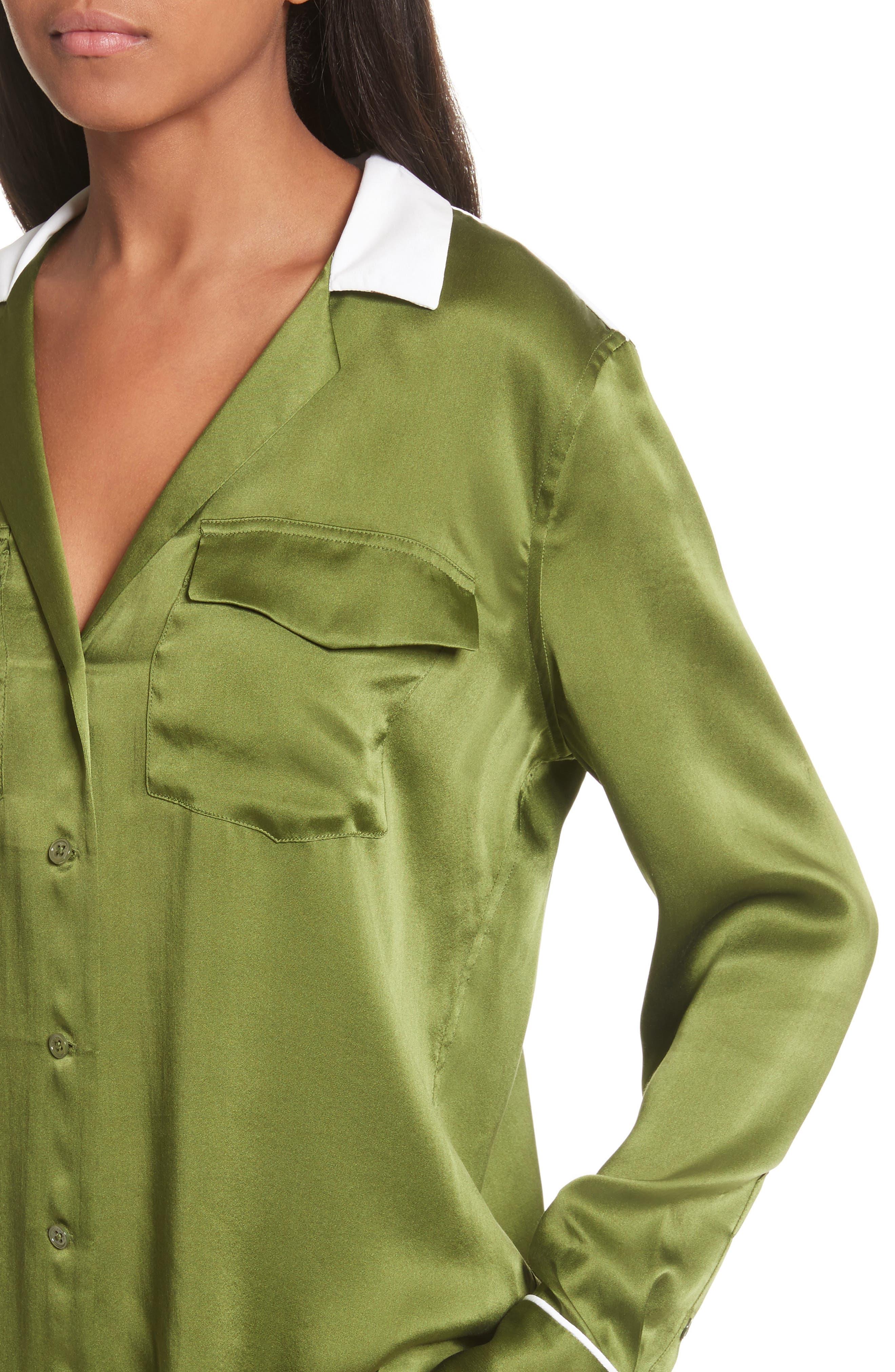 Ansley Print Silk Shirt,                             Alternate thumbnail 4, color,                             Combat Green