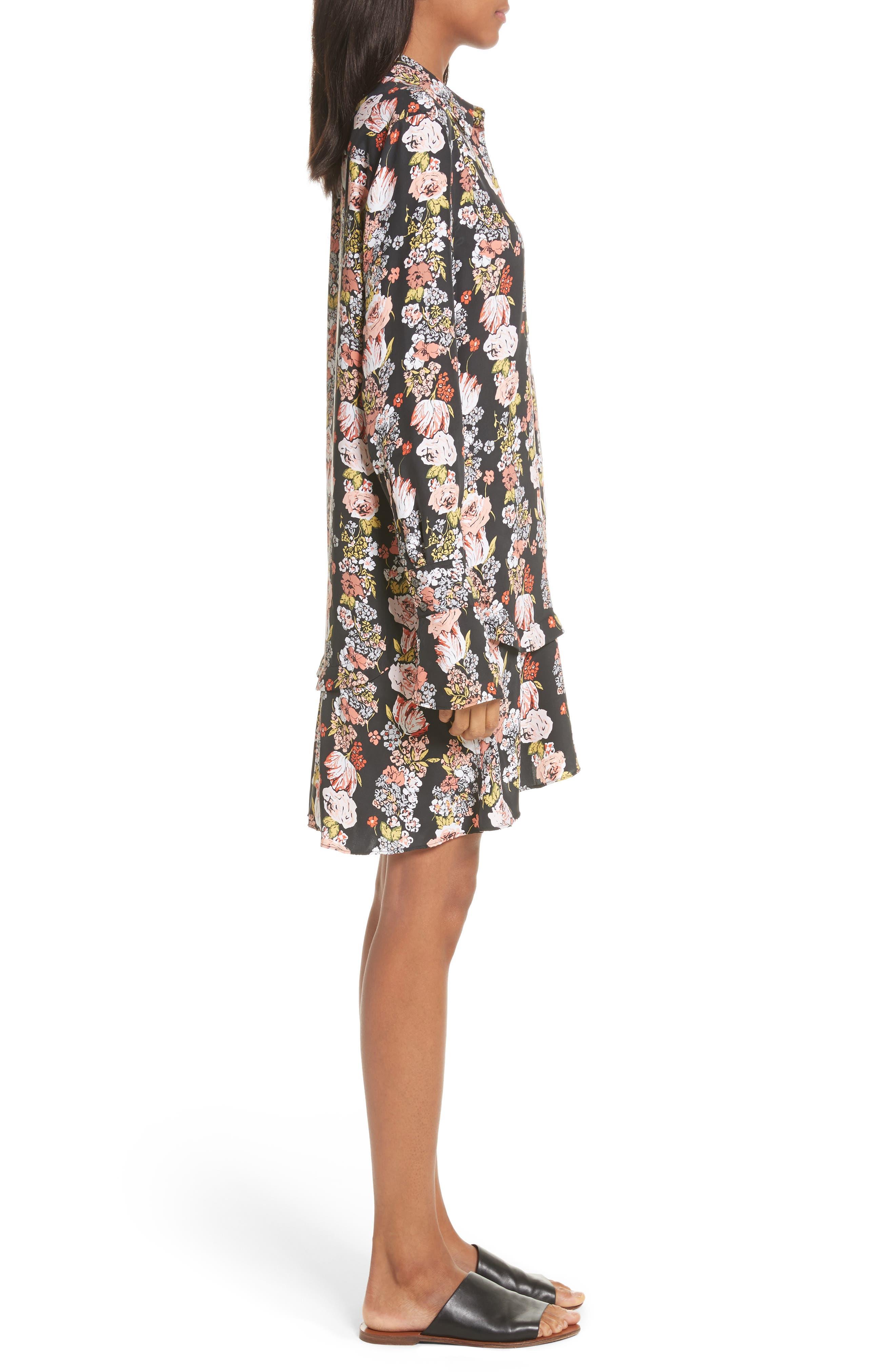 Daphne Silk Shirtdress,                             Alternate thumbnail 3, color,                             True Black Multi