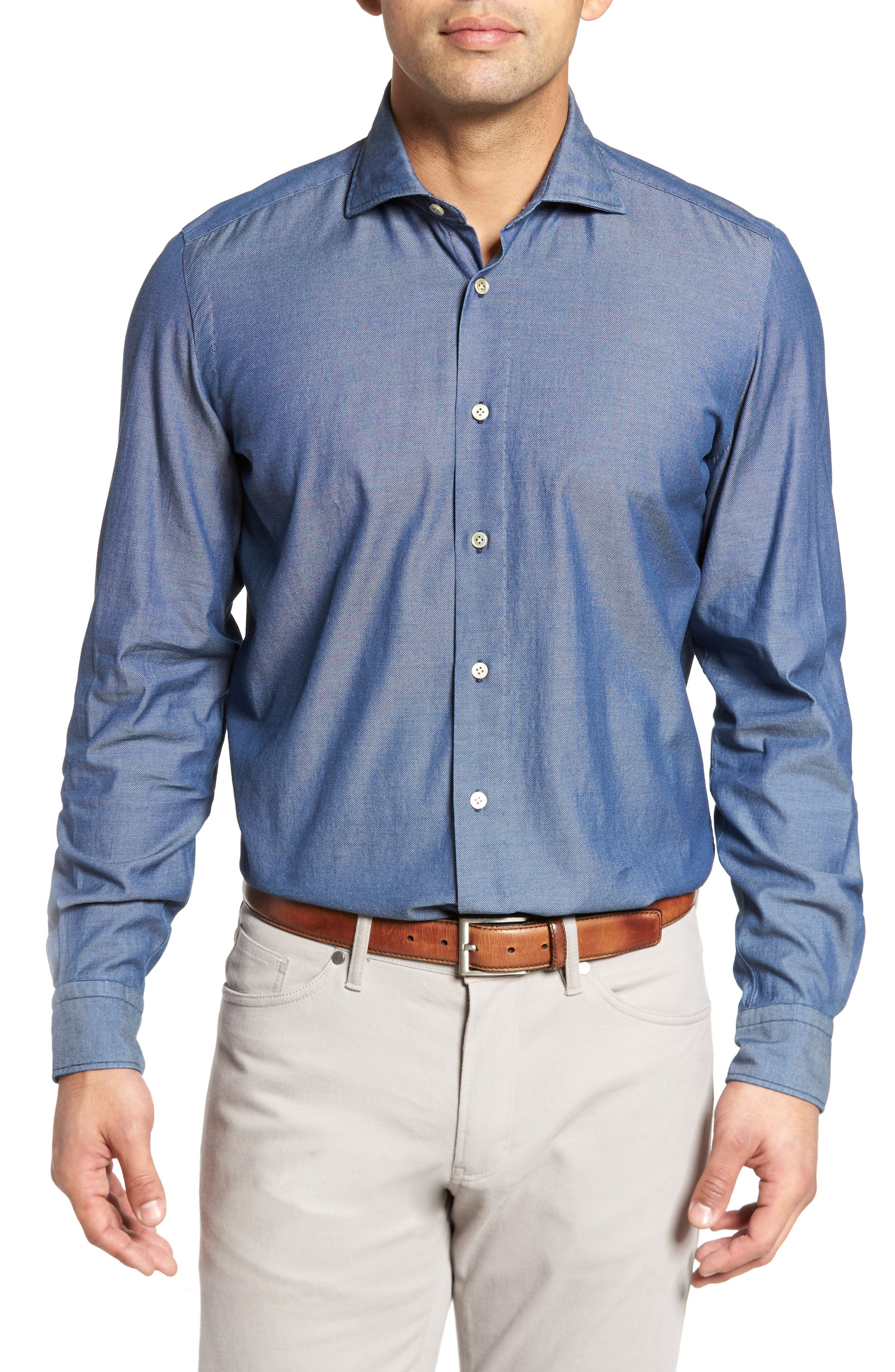 Classic Fit Bird's Eye Sport Shirt,                         Main,                         color, Navy
