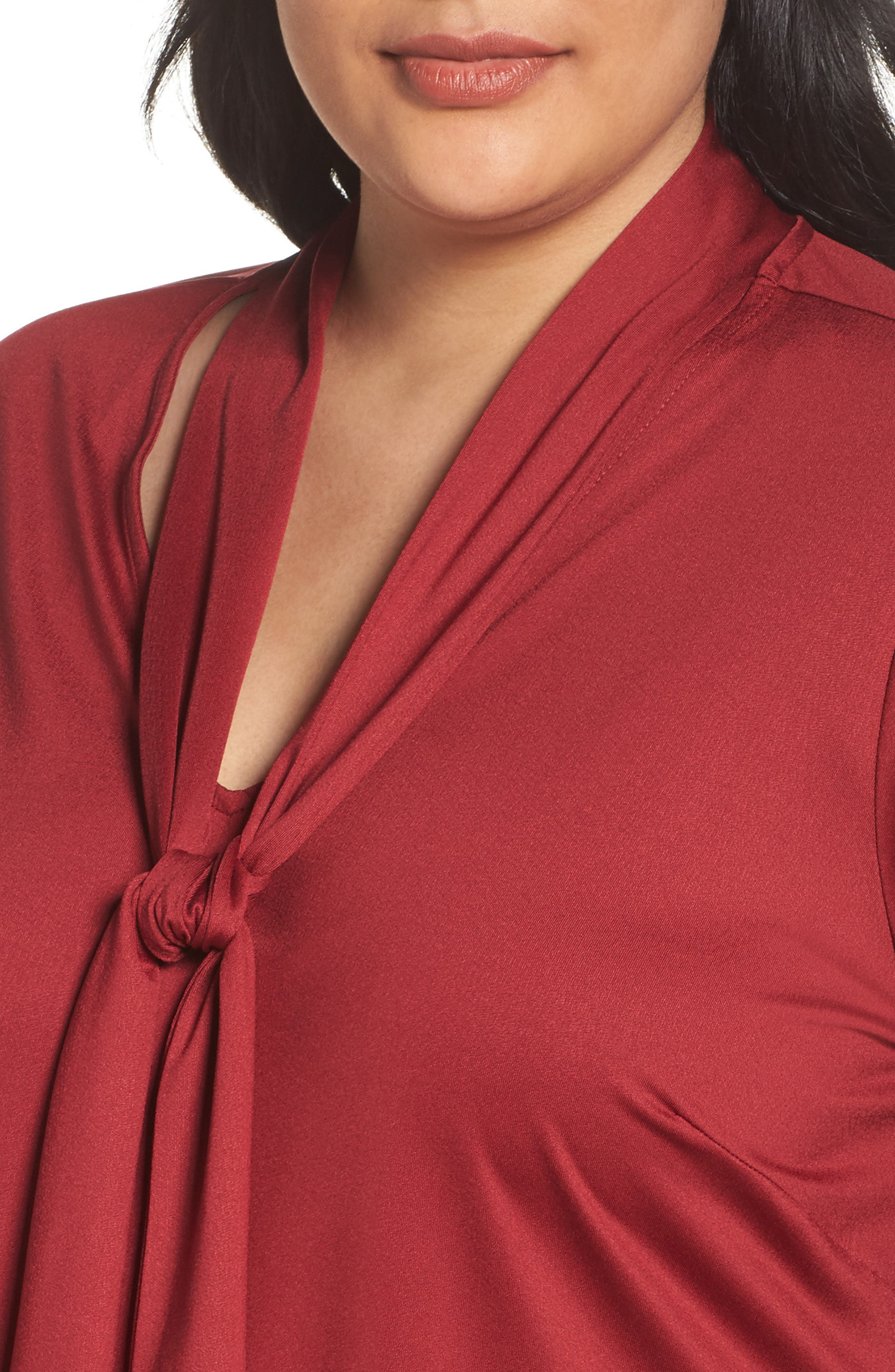 Tie Neck Top,                             Alternate thumbnail 4, color,                             Rhubarb