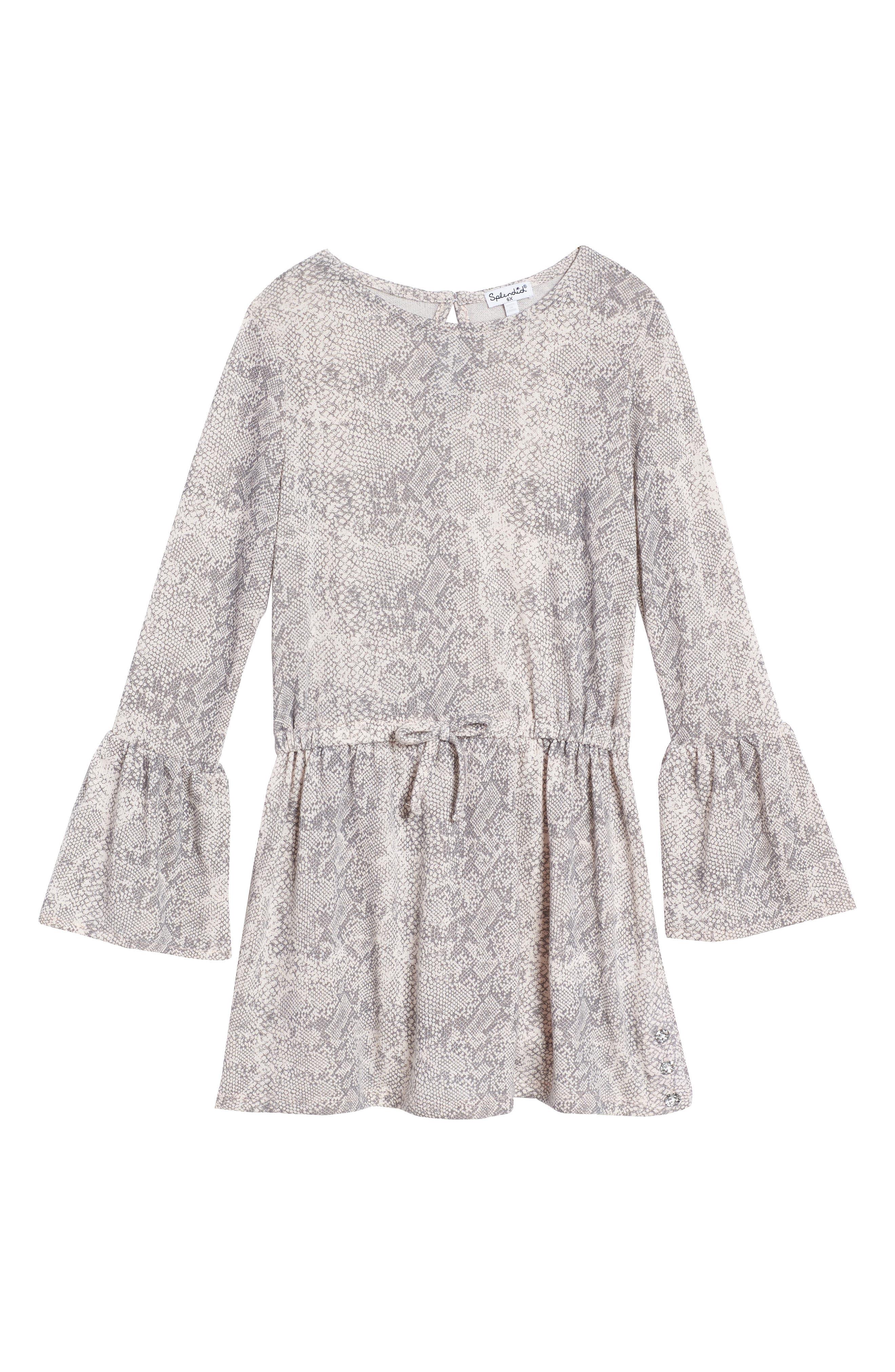 Main Image - Splendid Python Print Loose Knit Dress (Big Girls)