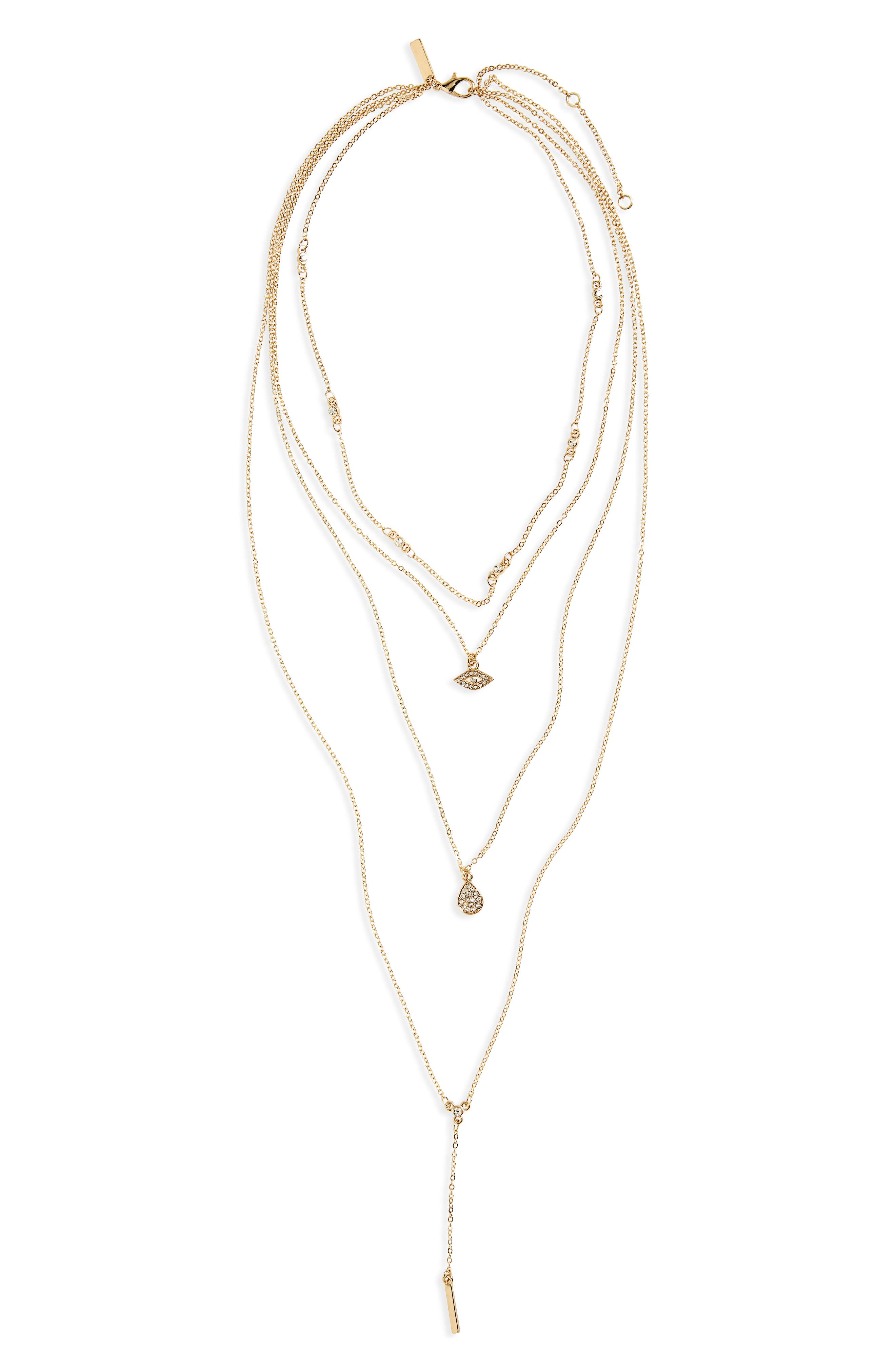 Topshop Stone Eye Multistrand Necklace