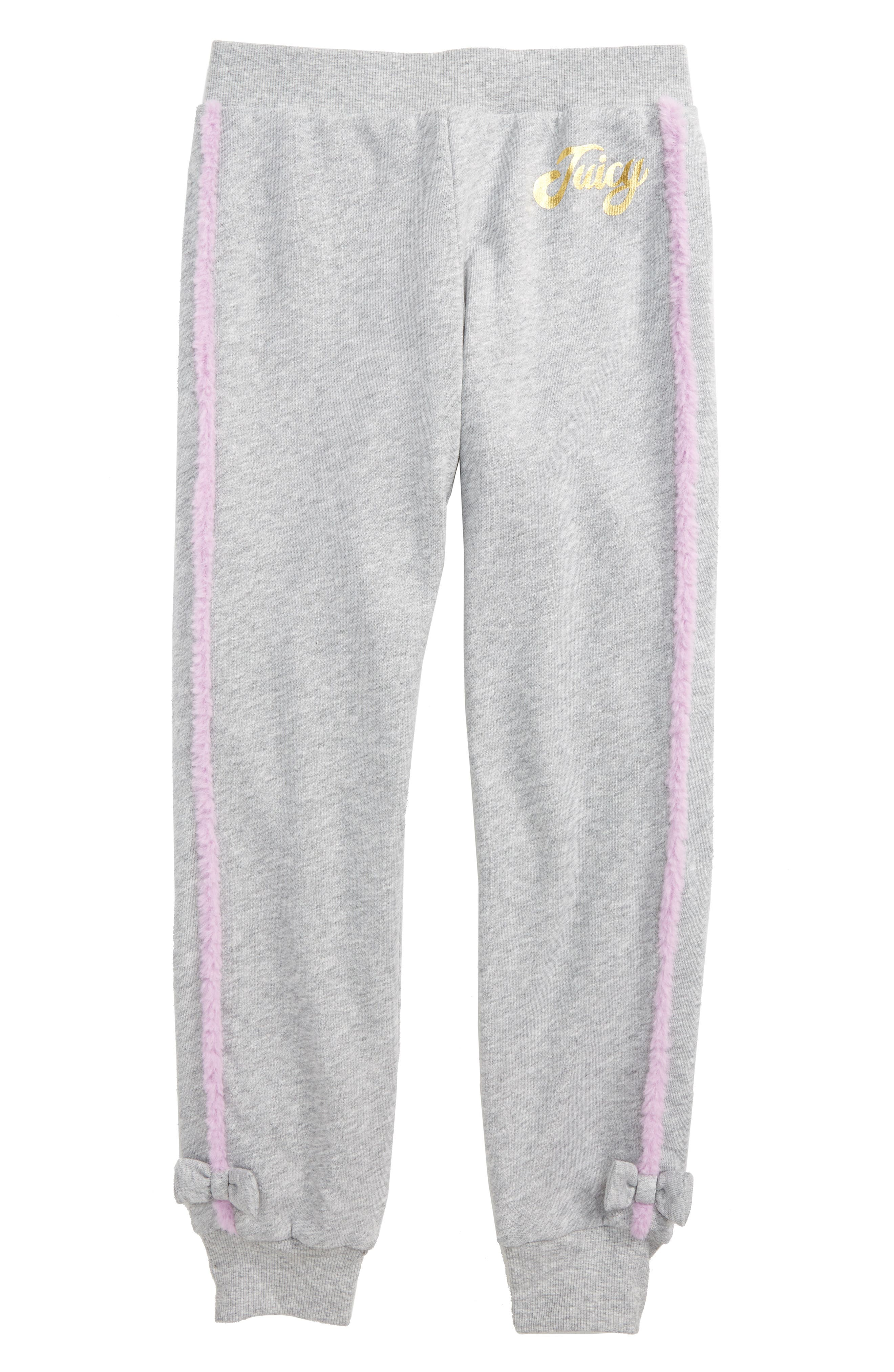 Main Image - Juicy Couture Faux Fur Trim Jogger Pants (Big Girls)