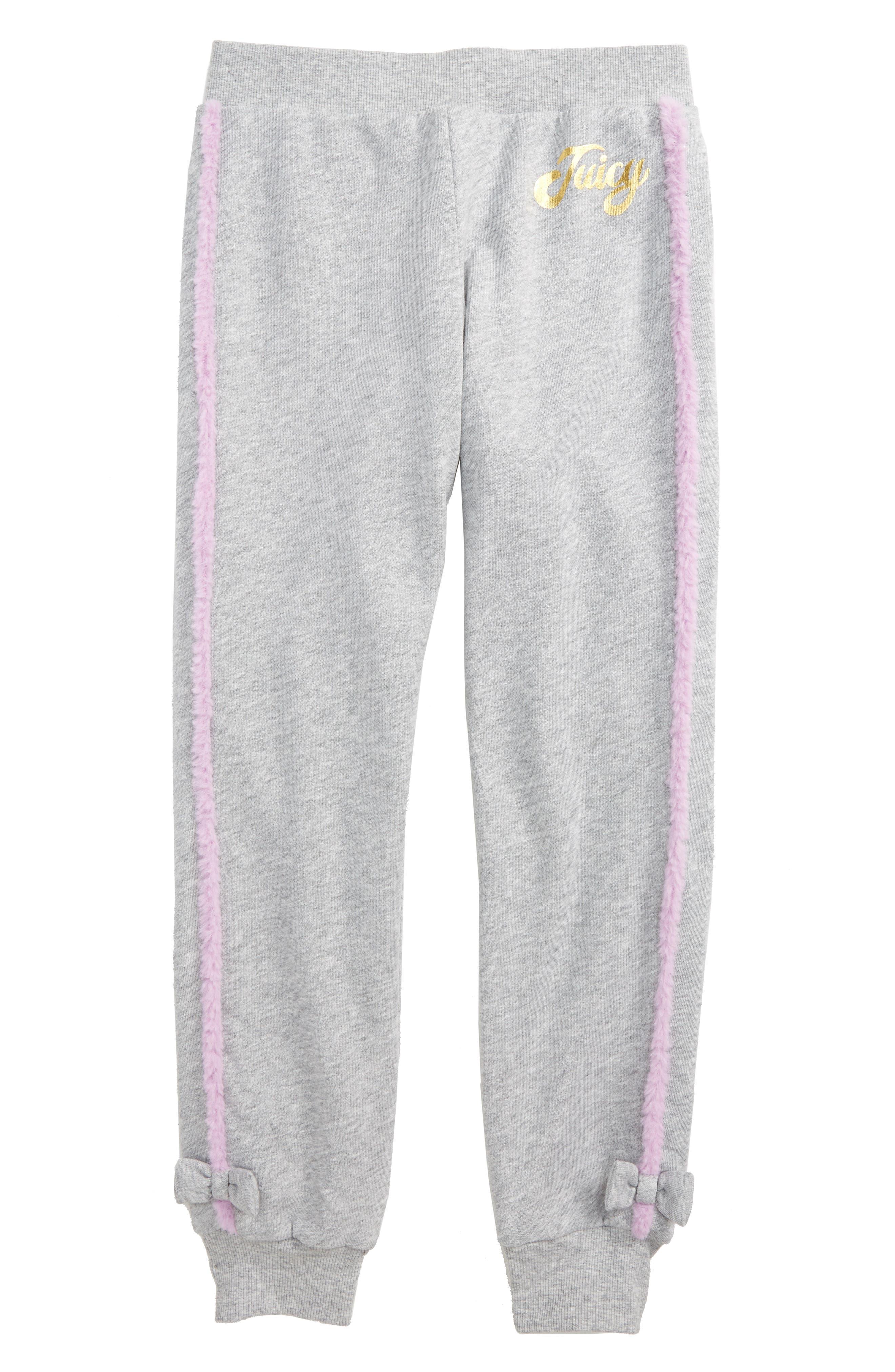 Faux Fur Trim Jogger Pants,                         Main,                         color, Grey