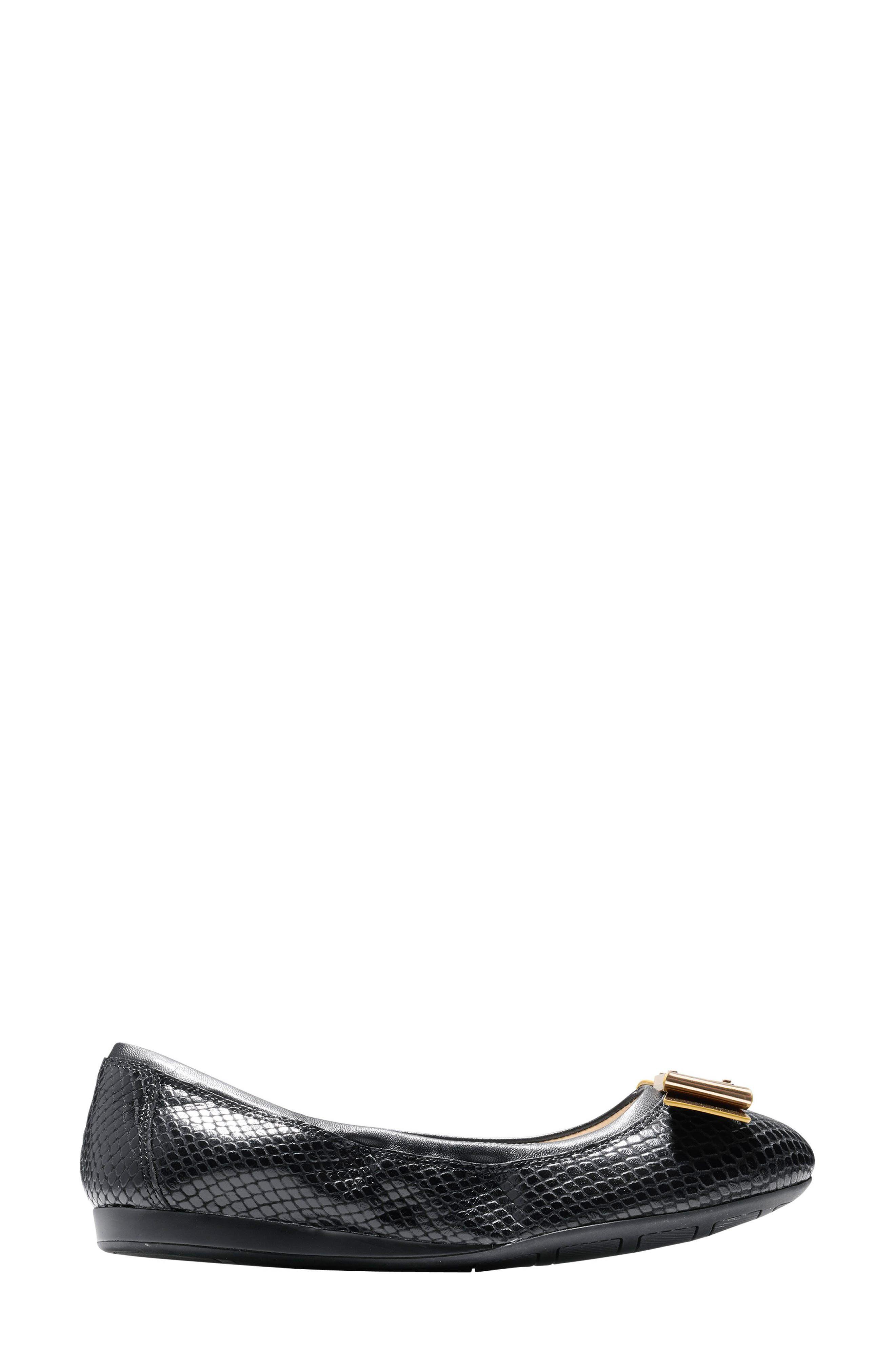 'Tali' Bow Ballet Flat,                             Alternate thumbnail 3, color,                             Black Snake Print Leather
