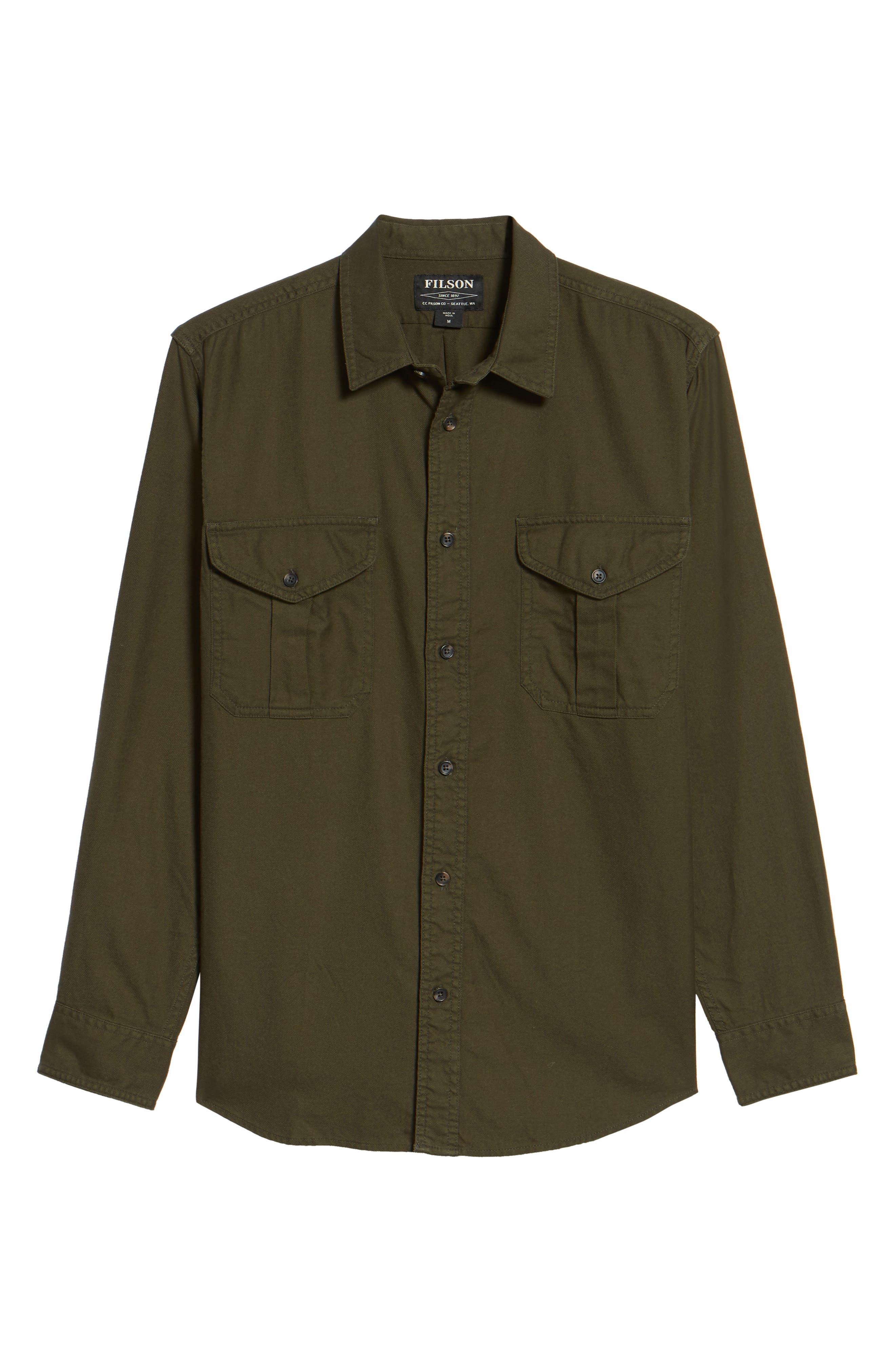 Alaskan Guide Regular Fit Twill Shirt,                             Alternate thumbnail 6, color,                             Brunswick Green