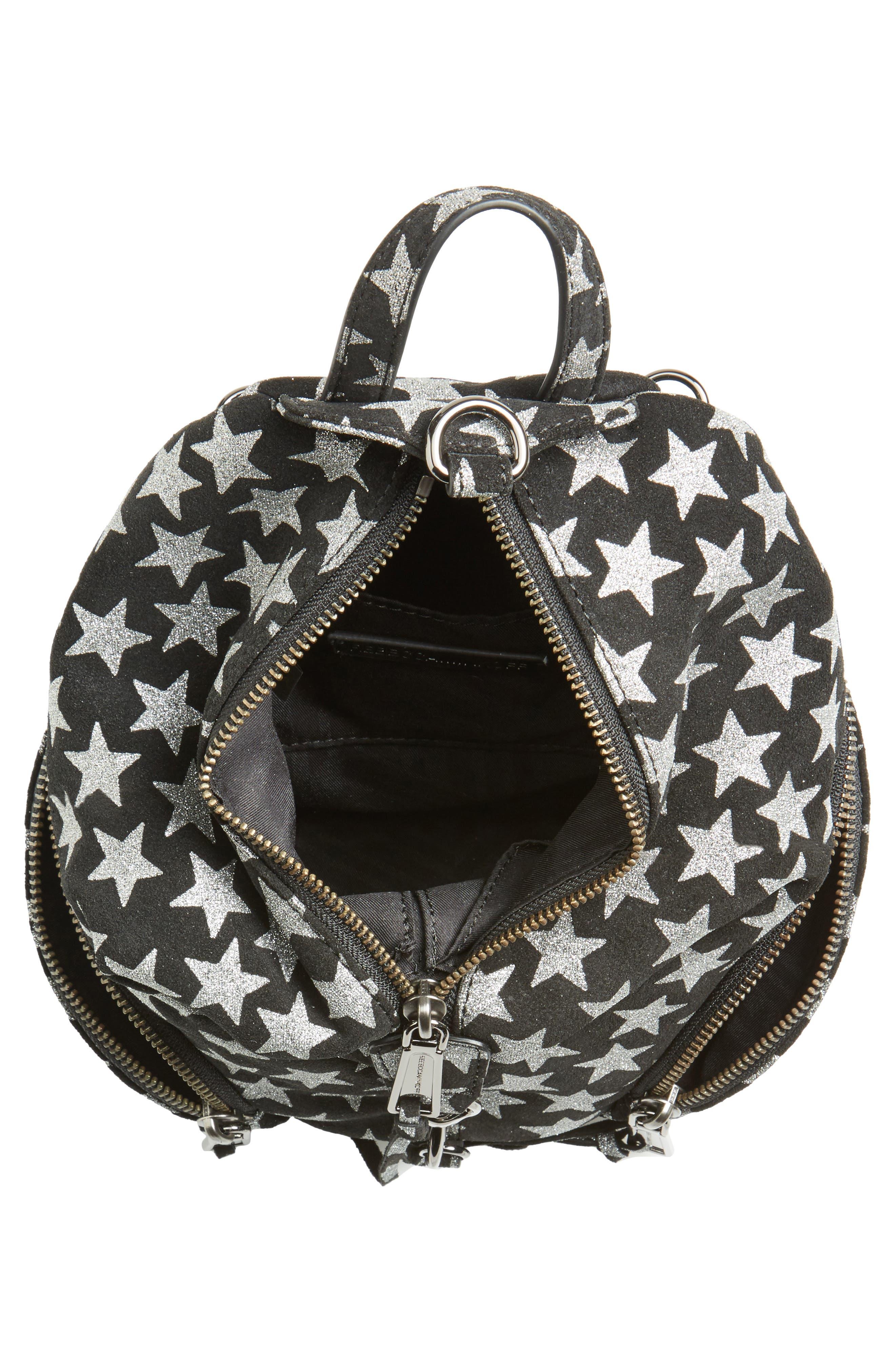 Mini Julian Metallic Star Nubuck Leather Convertible Backpack,                             Alternate thumbnail 4, color,                             Black