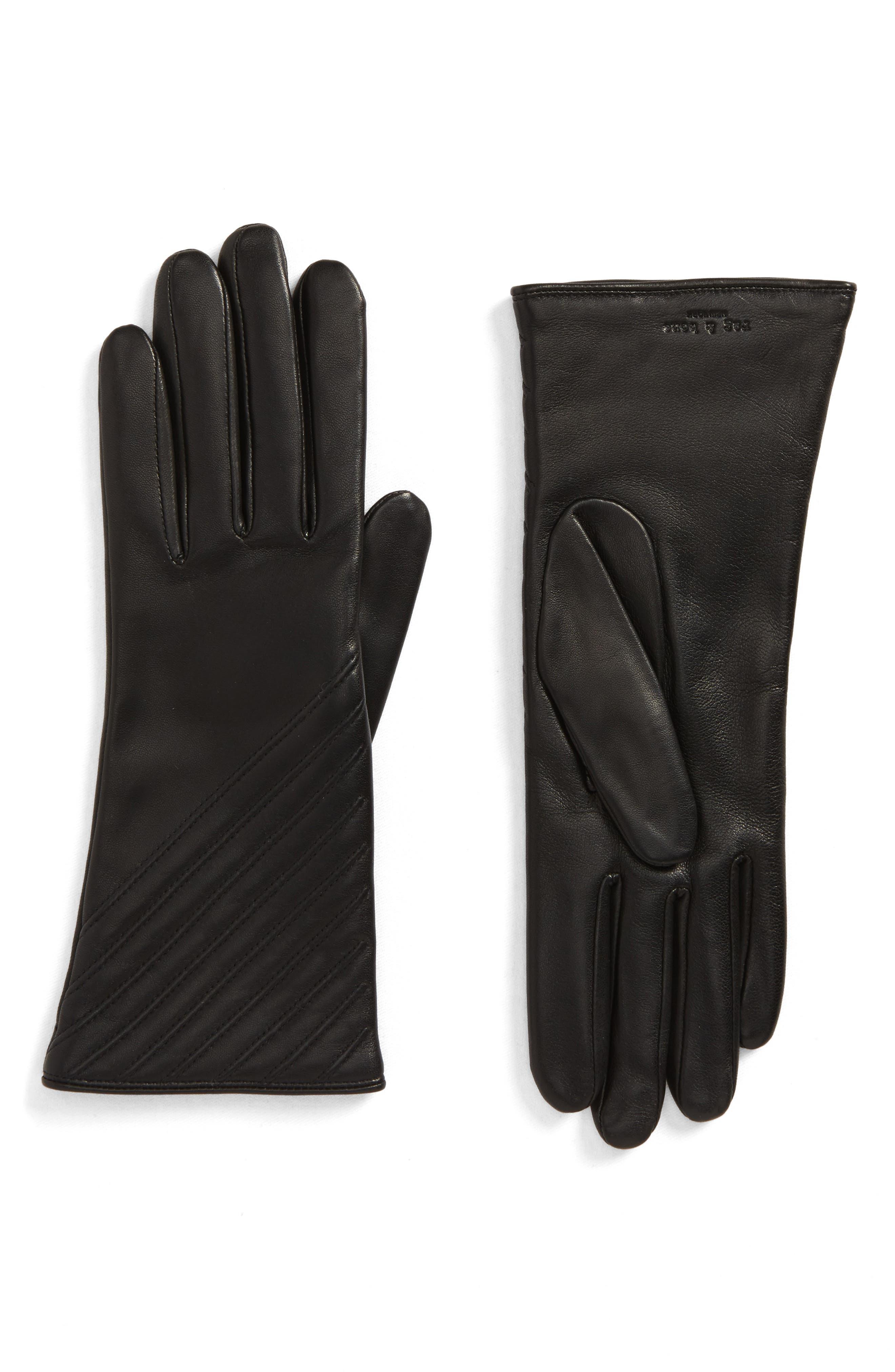 Slant Leather Gloves,                             Main thumbnail 1, color,                             Black