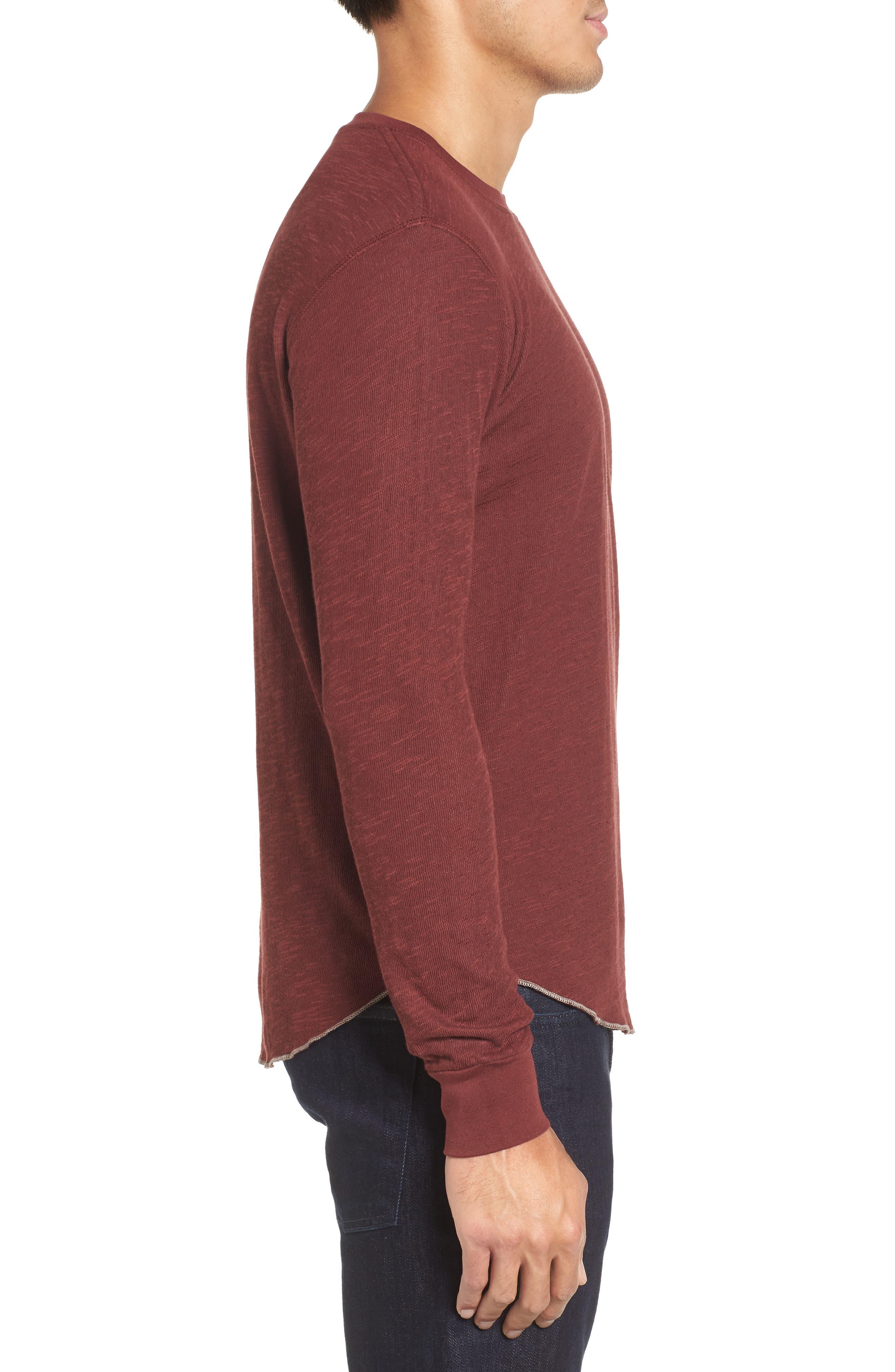 Double Layer Slim Crewneck T-Shirt,                             Alternate thumbnail 3, color,                             Andorra