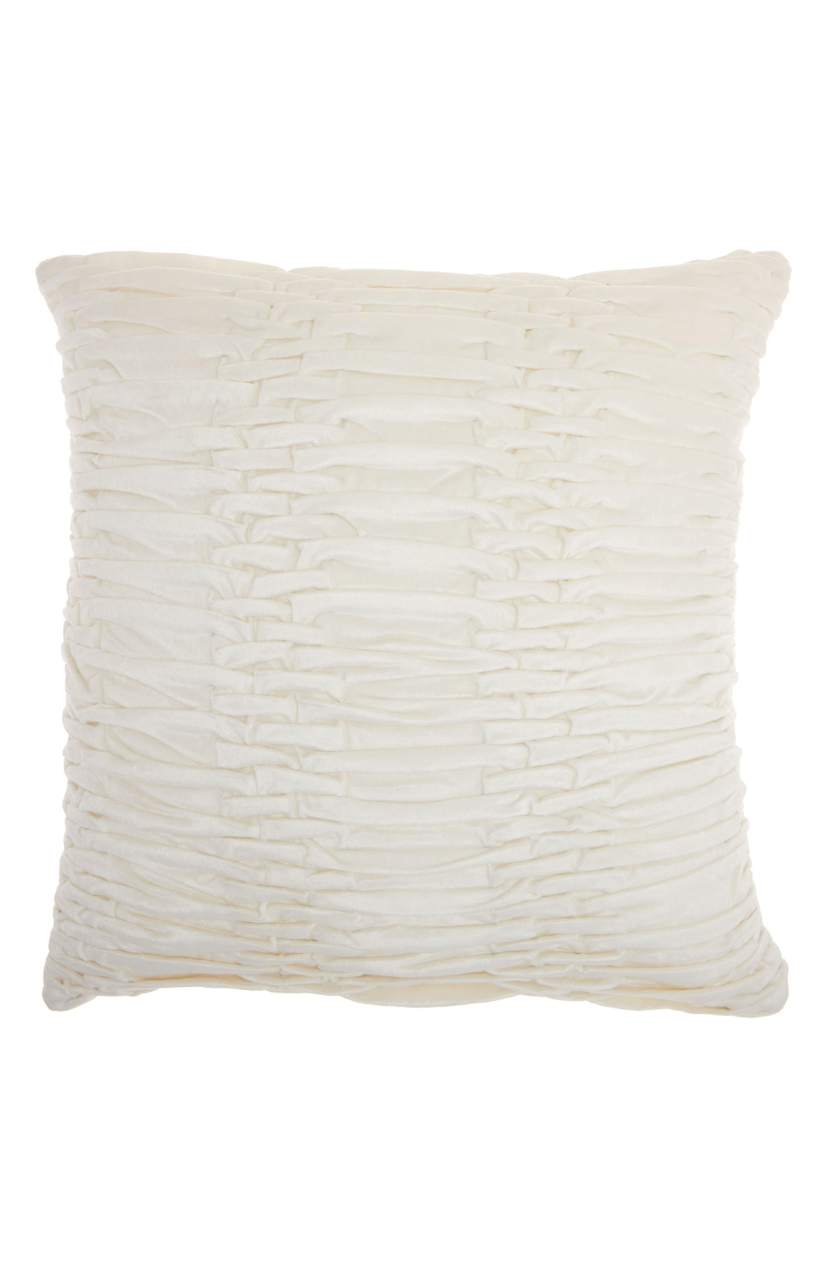 Pleated Velvet Accent Pillow,                         Main,                         color, Cream
