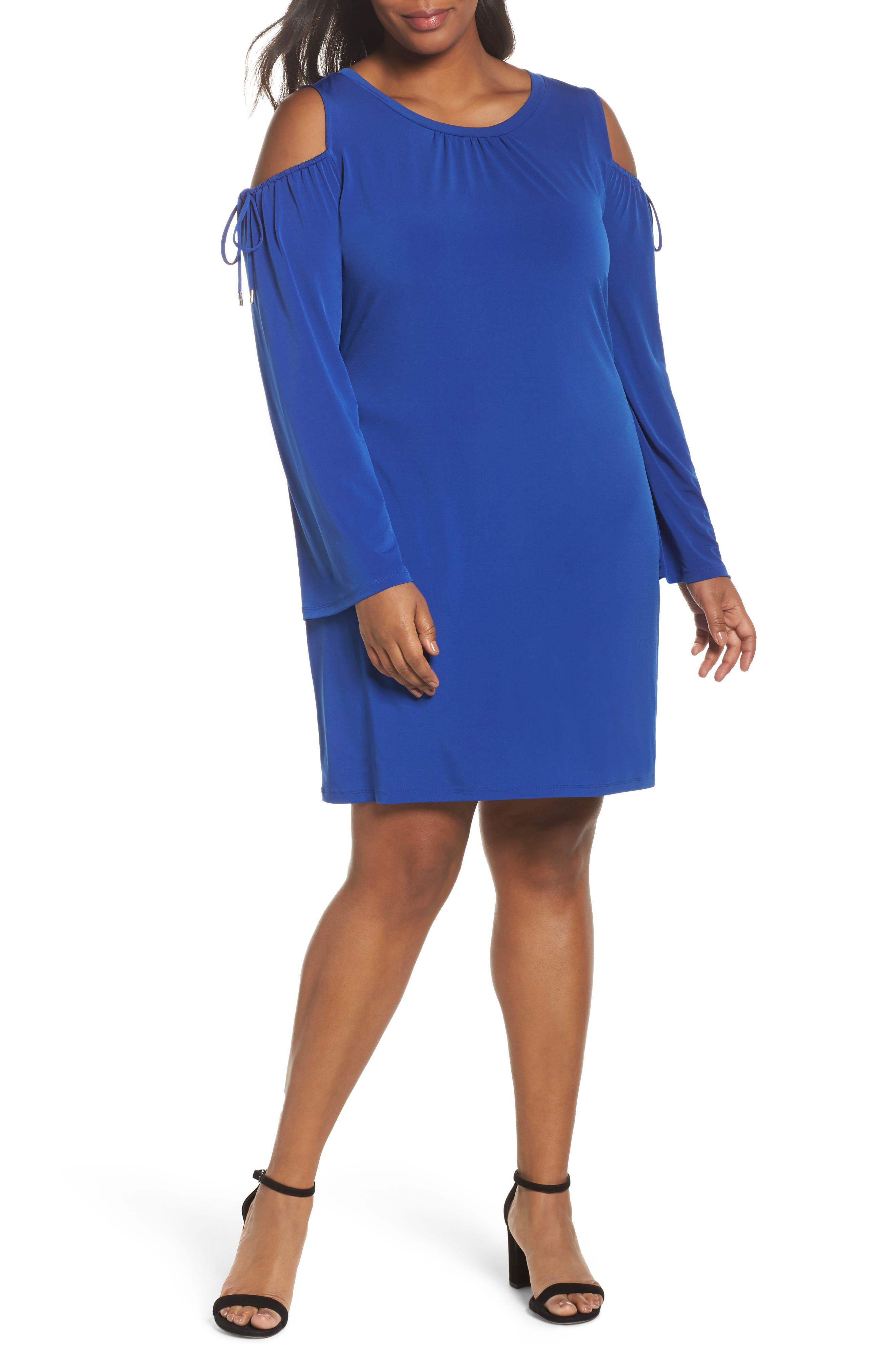 Cold Shoulder Shift Dress,                         Main,                         color, Blue