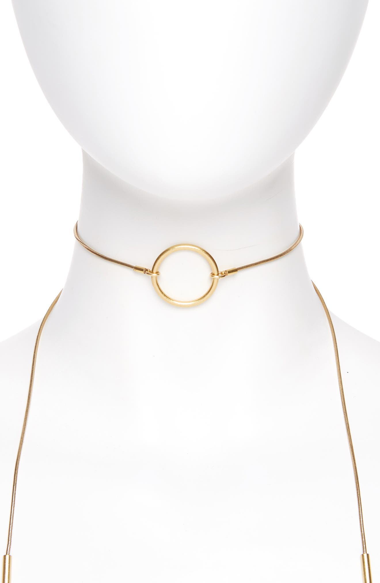 Adjustable Ring Choker Necklace,                         Main,                         color, Gold Ox