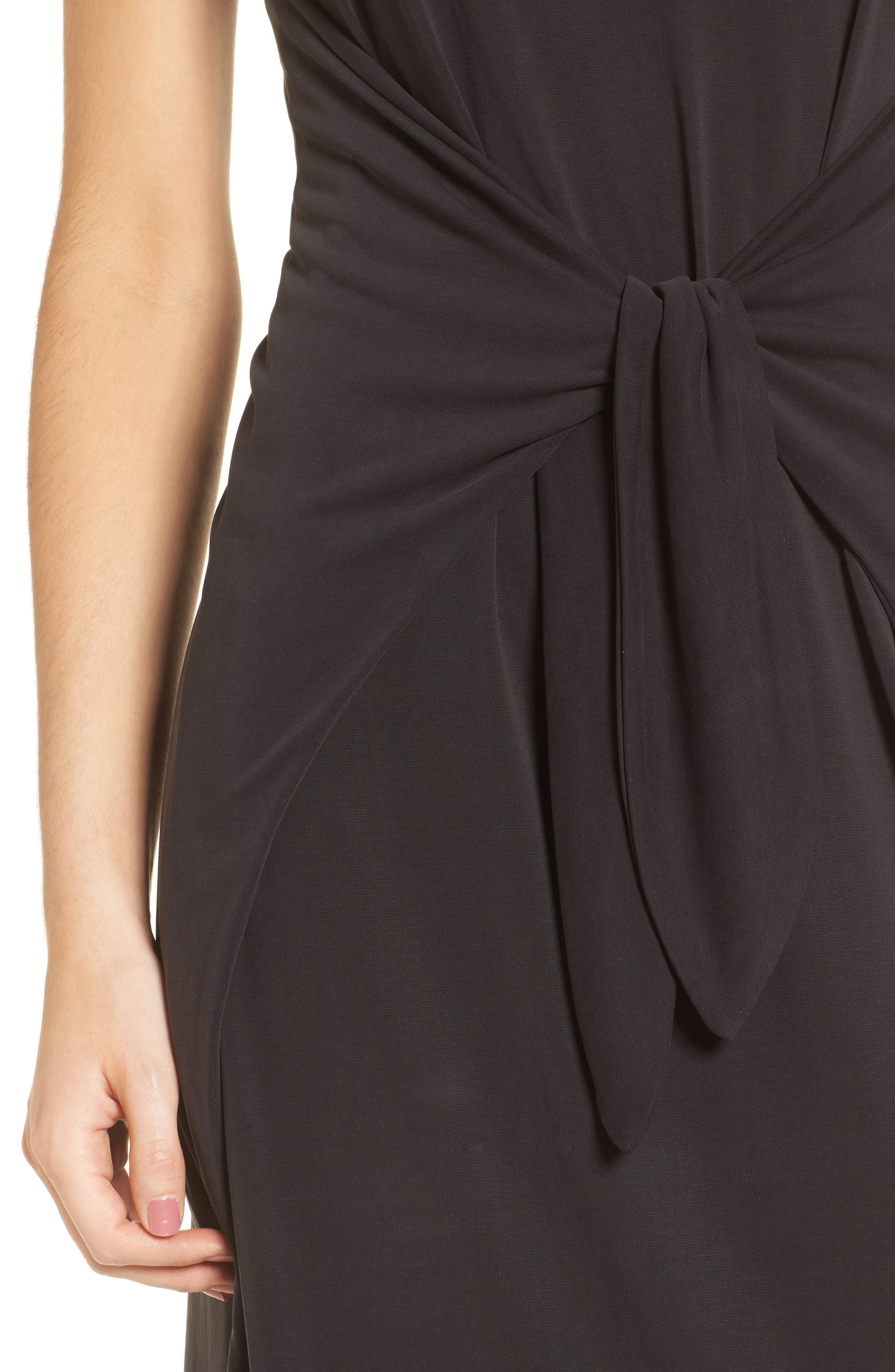 Knotted Midi Dress,                             Alternate thumbnail 4, color,                             Black