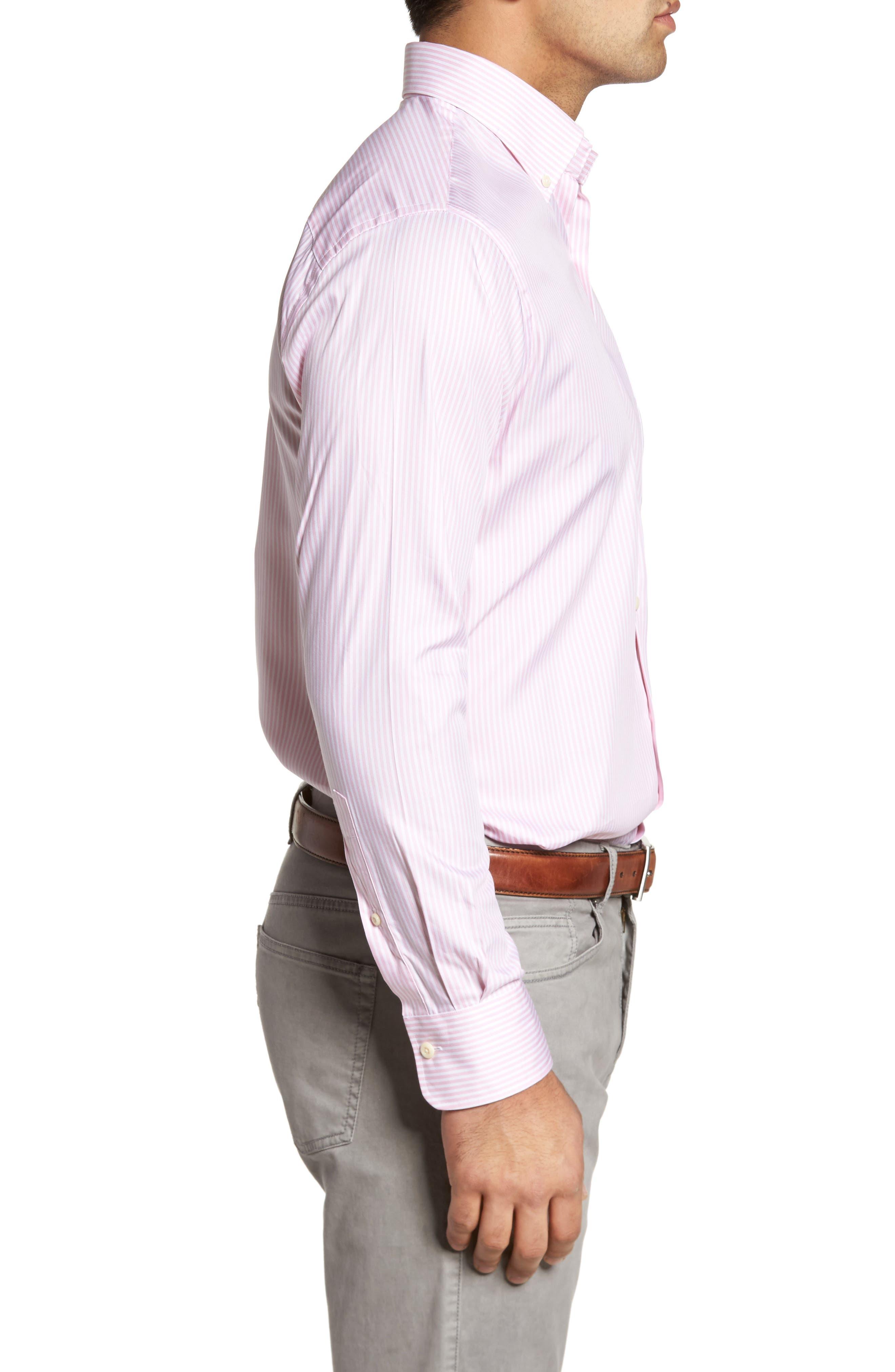 Classic Fit Crown Soft Longshot Stripe Sport Shirt,                             Alternate thumbnail 3, color,                             Piglet Pink