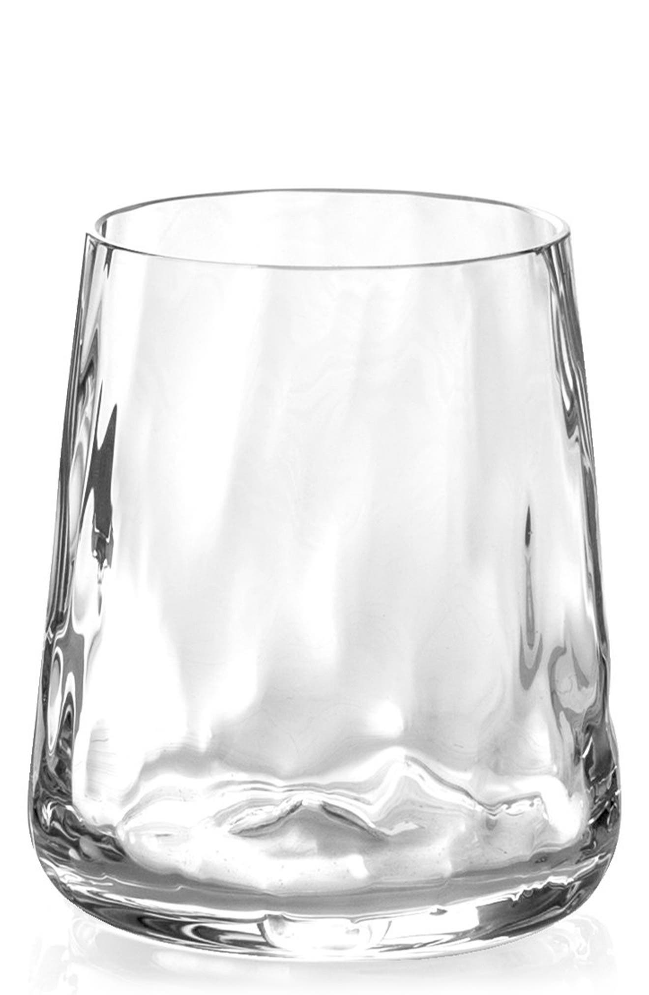 Ripple Effect Set of 4 Double Old Fashioned Glasses,                             Main thumbnail 1, color,                             Ripple Effect
