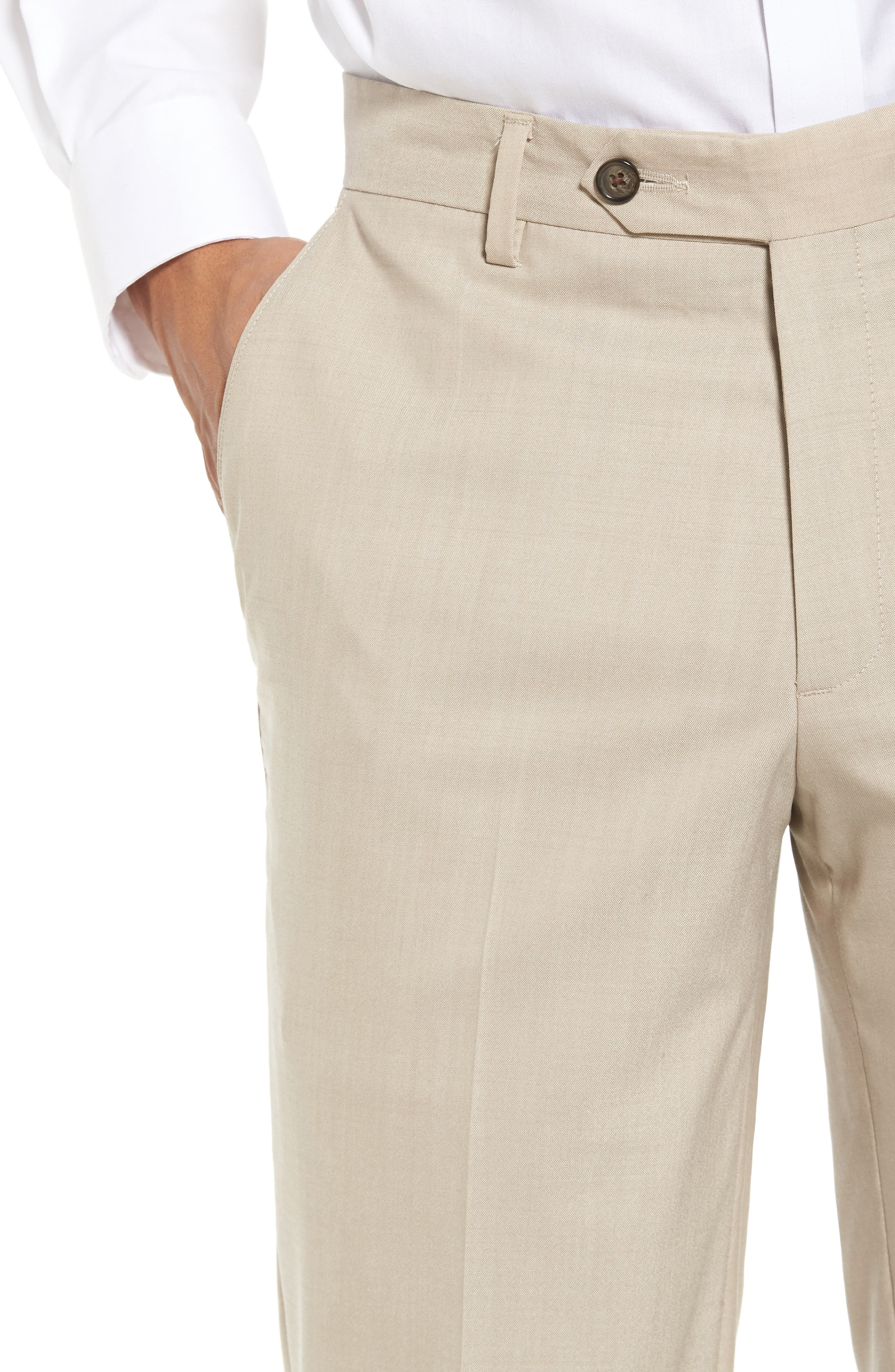 Flat Front Stretch Solid Wool Trousers,                             Alternate thumbnail 4, color,                             Tan