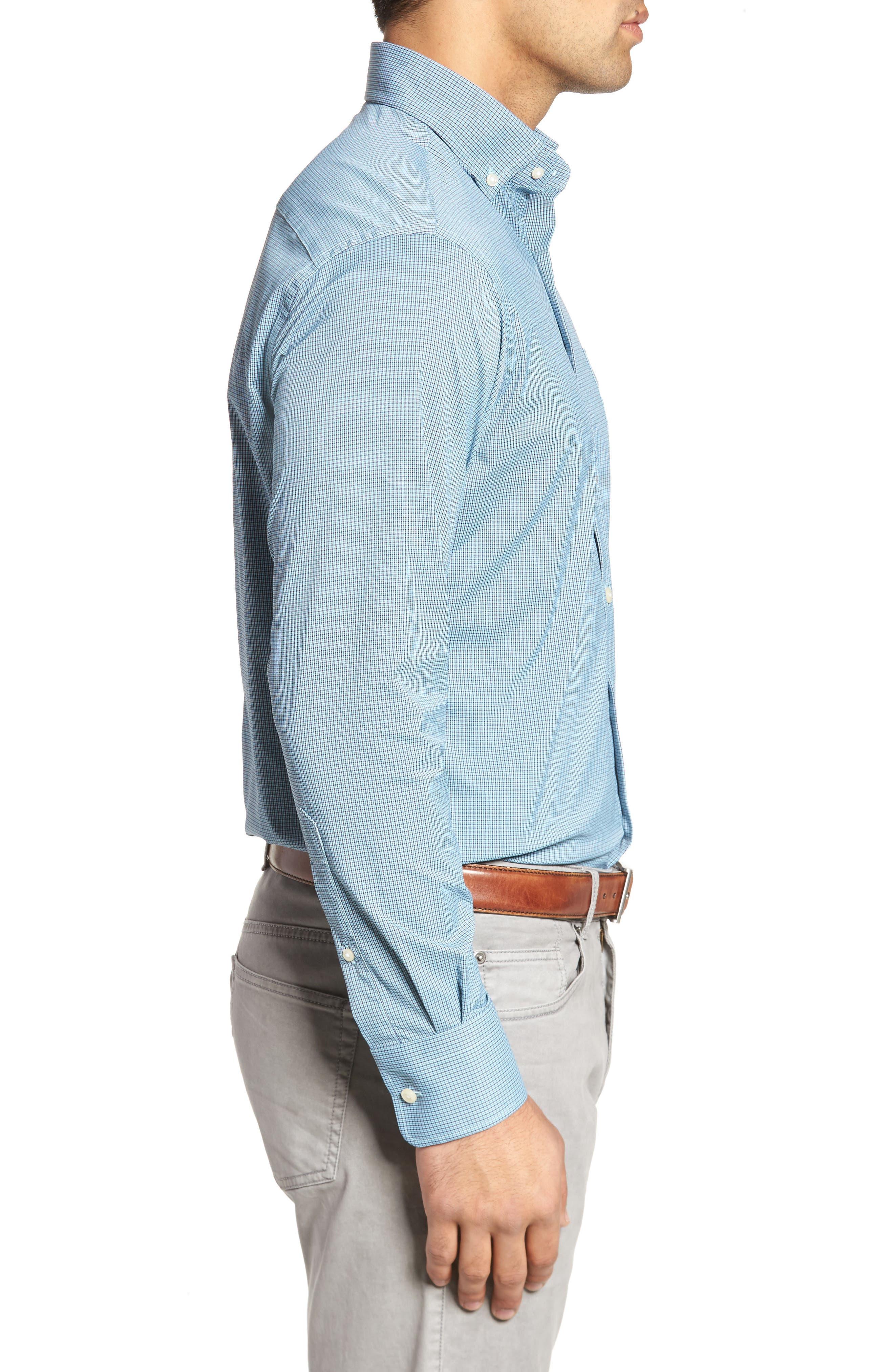 Parsons Regular Fit Performance Sport Shirt,                             Alternate thumbnail 3, color,                             Grotto Blue