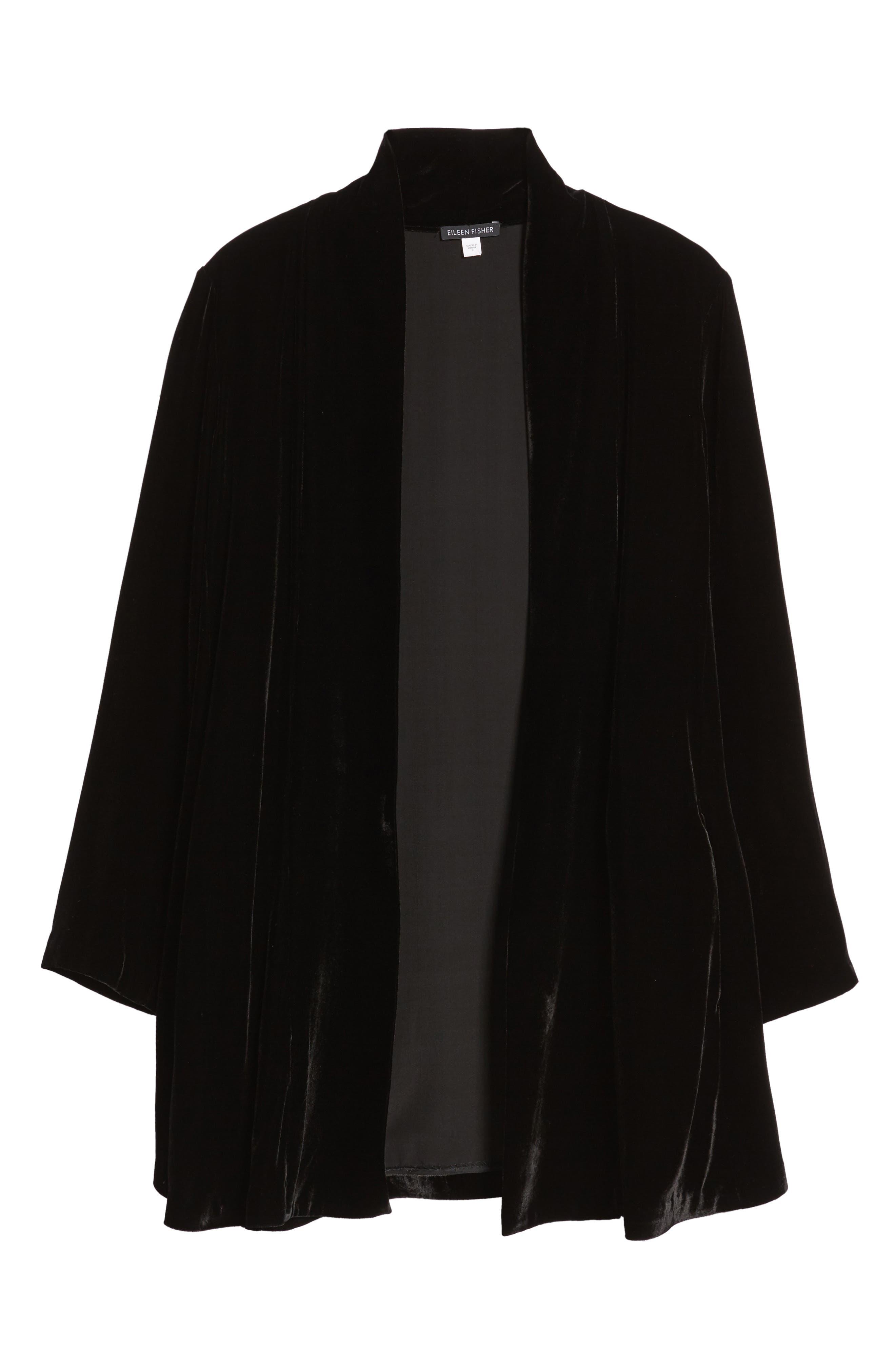 Shawl Collar Velvet Jacket,                             Alternate thumbnail 5, color,                             Black