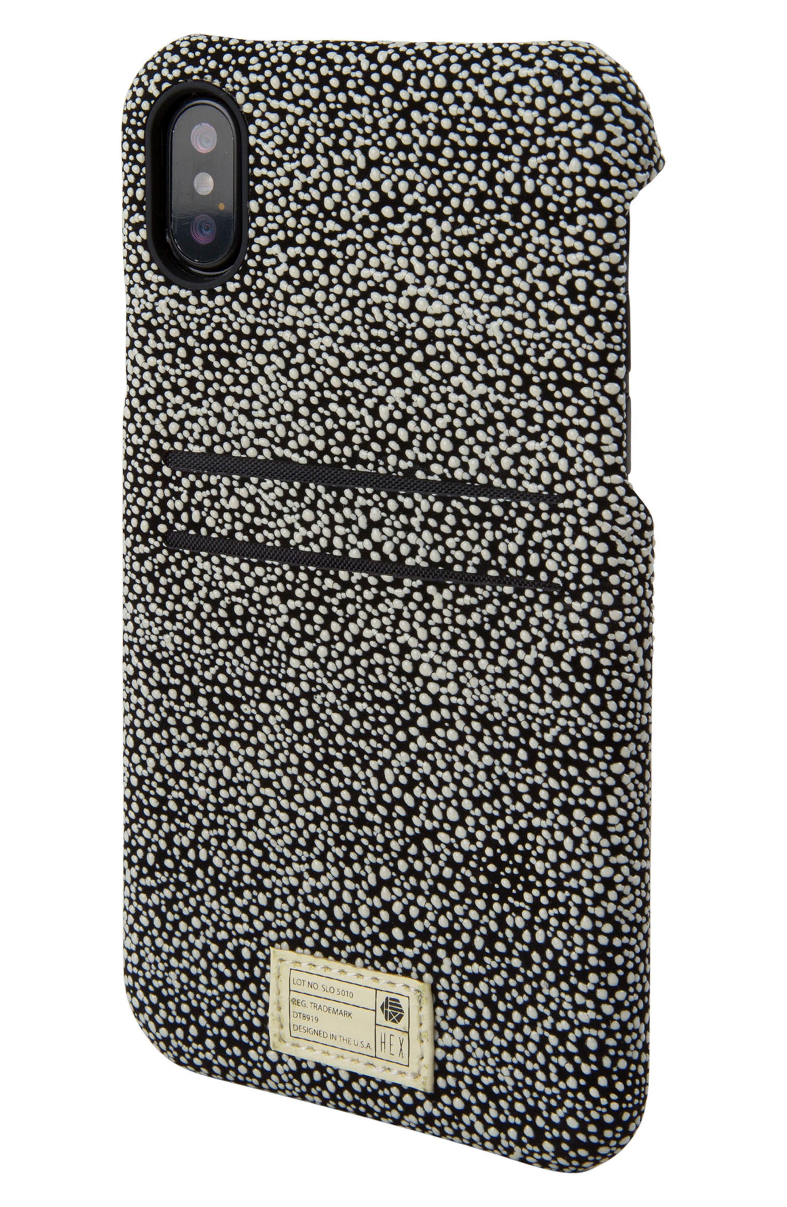 Solo iPhone X Wallet Case,                             Main thumbnail 1, color,                             Black/ White Stingray