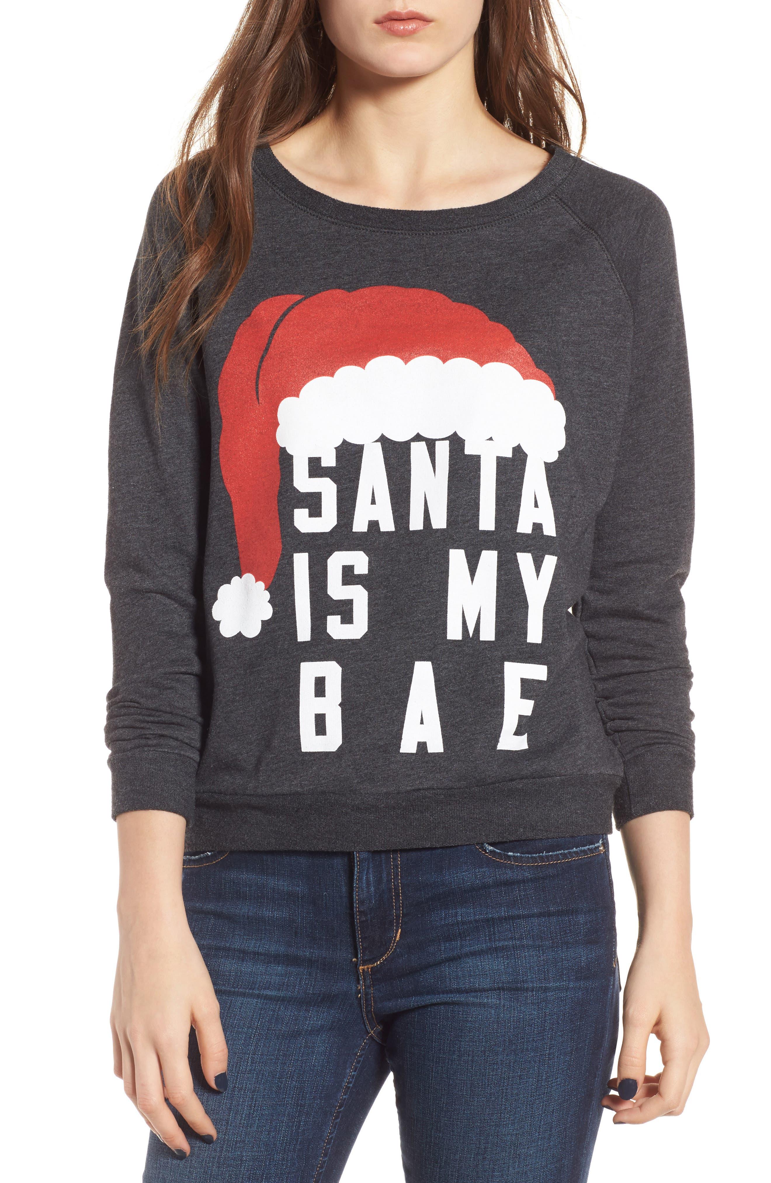Santa Is My Bae Pullover,                         Main,                         color, Grey