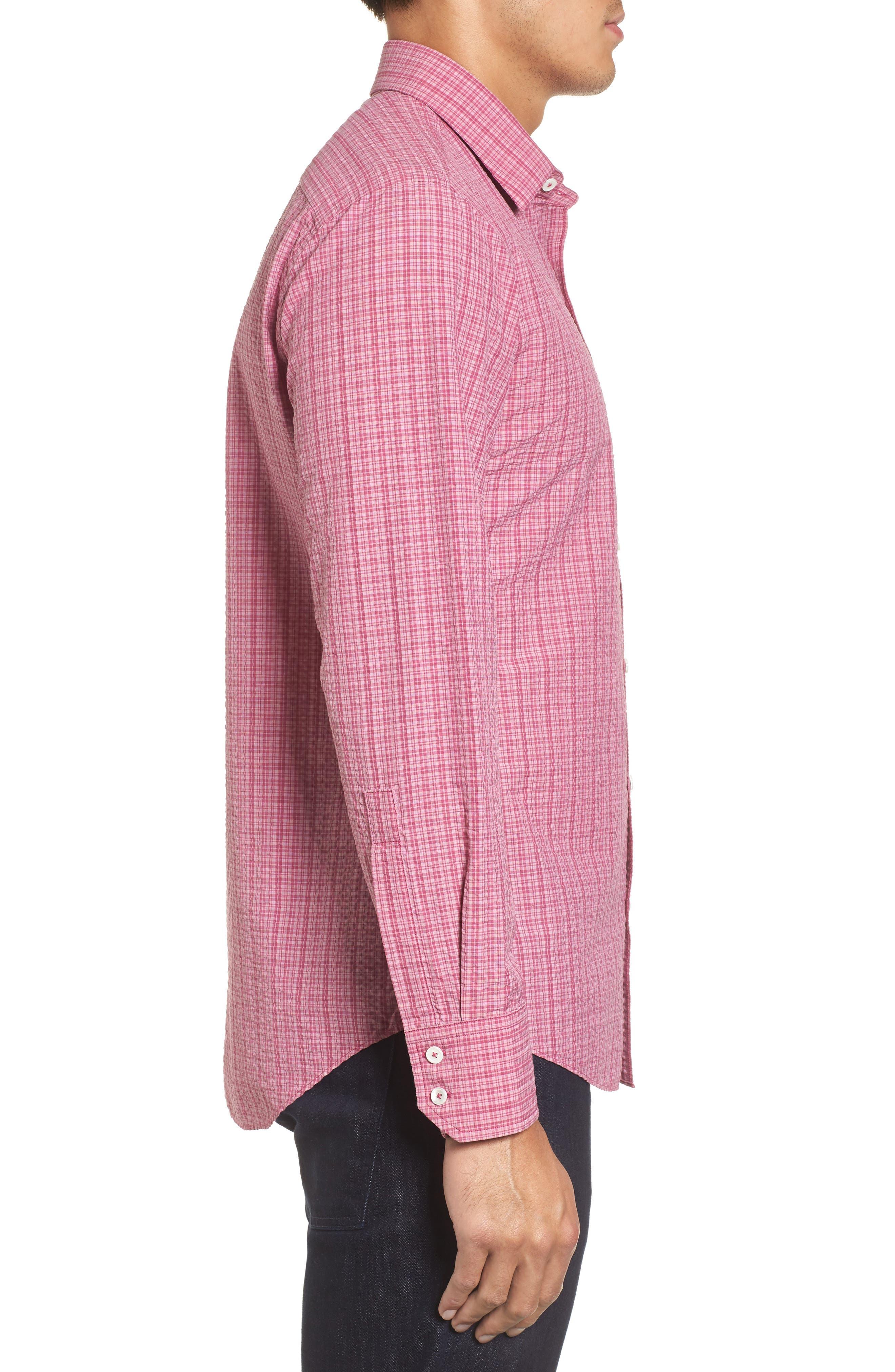 Italo Seersucker Woven Sport Shirt,                             Alternate thumbnail 3, color,                             Dark Pink