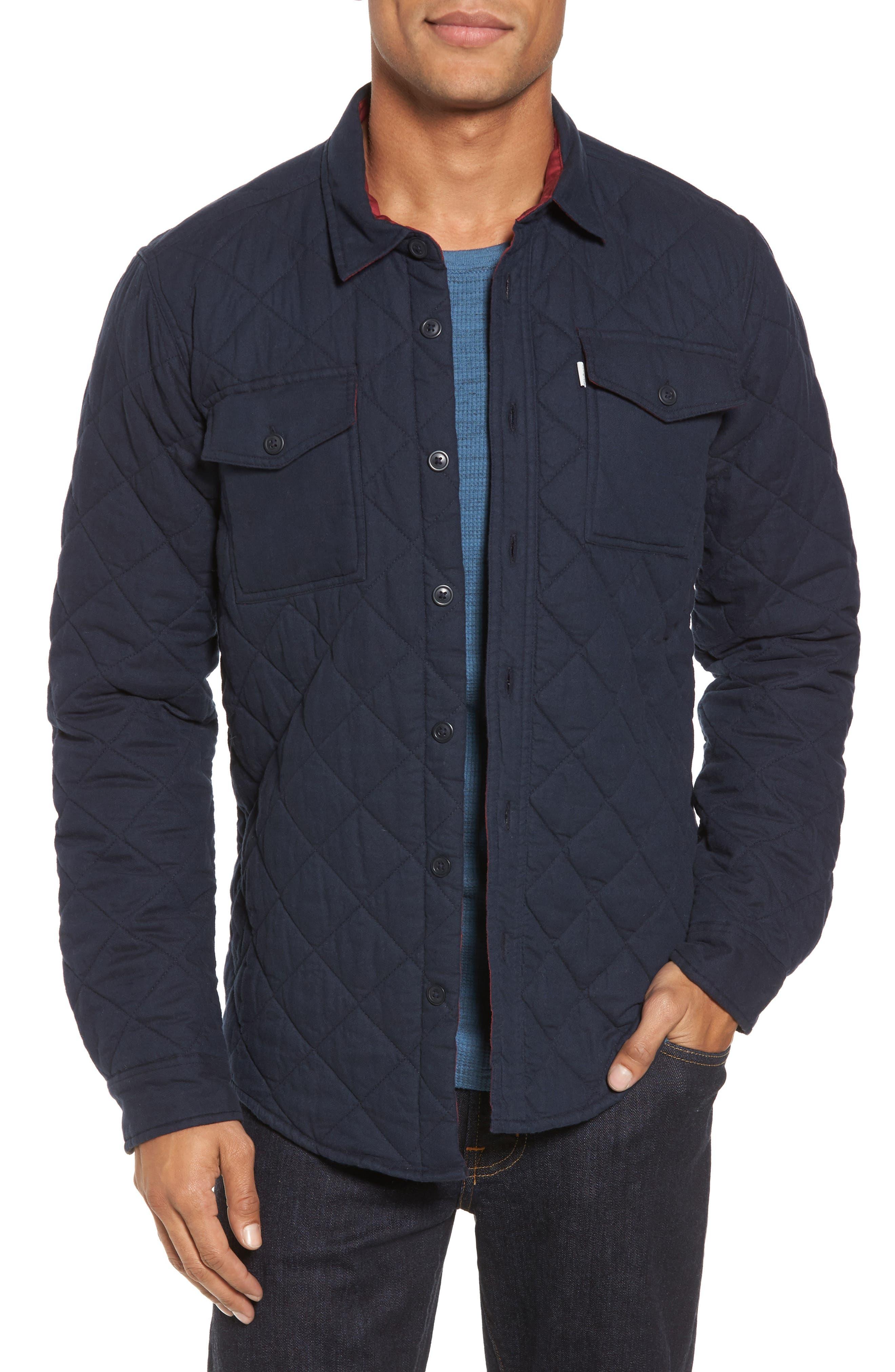 Quilted Shirt Jacket,                             Main thumbnail 1, color,                             Navy