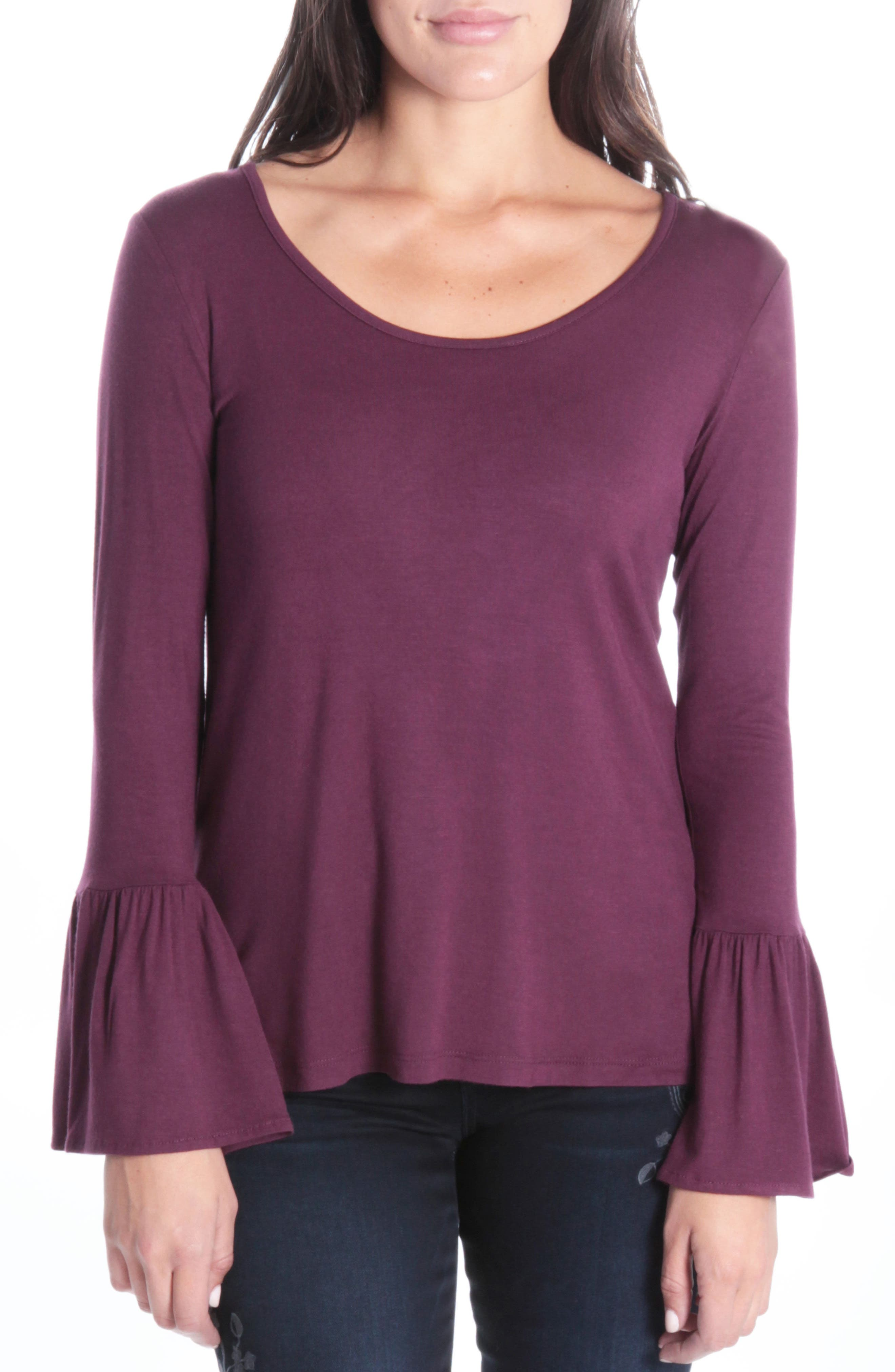 Winnie Bell Sleeve Top,                         Main,                         color, Burgundy