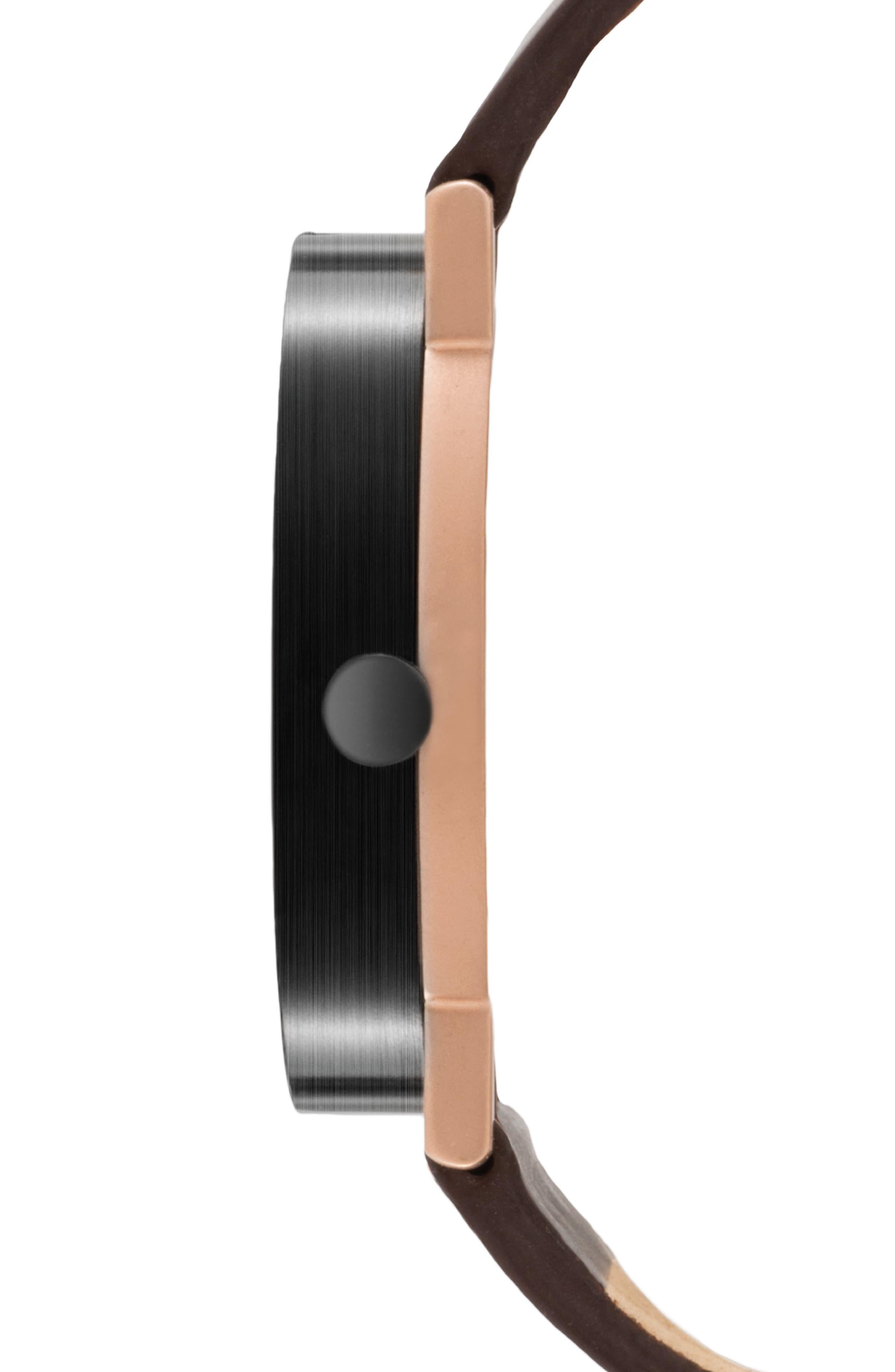 Leonard & Church Thompson Leather Strap Watch, 40mm,                             Alternate thumbnail 2, color,                             Coffee/ Black/ Rose Gold