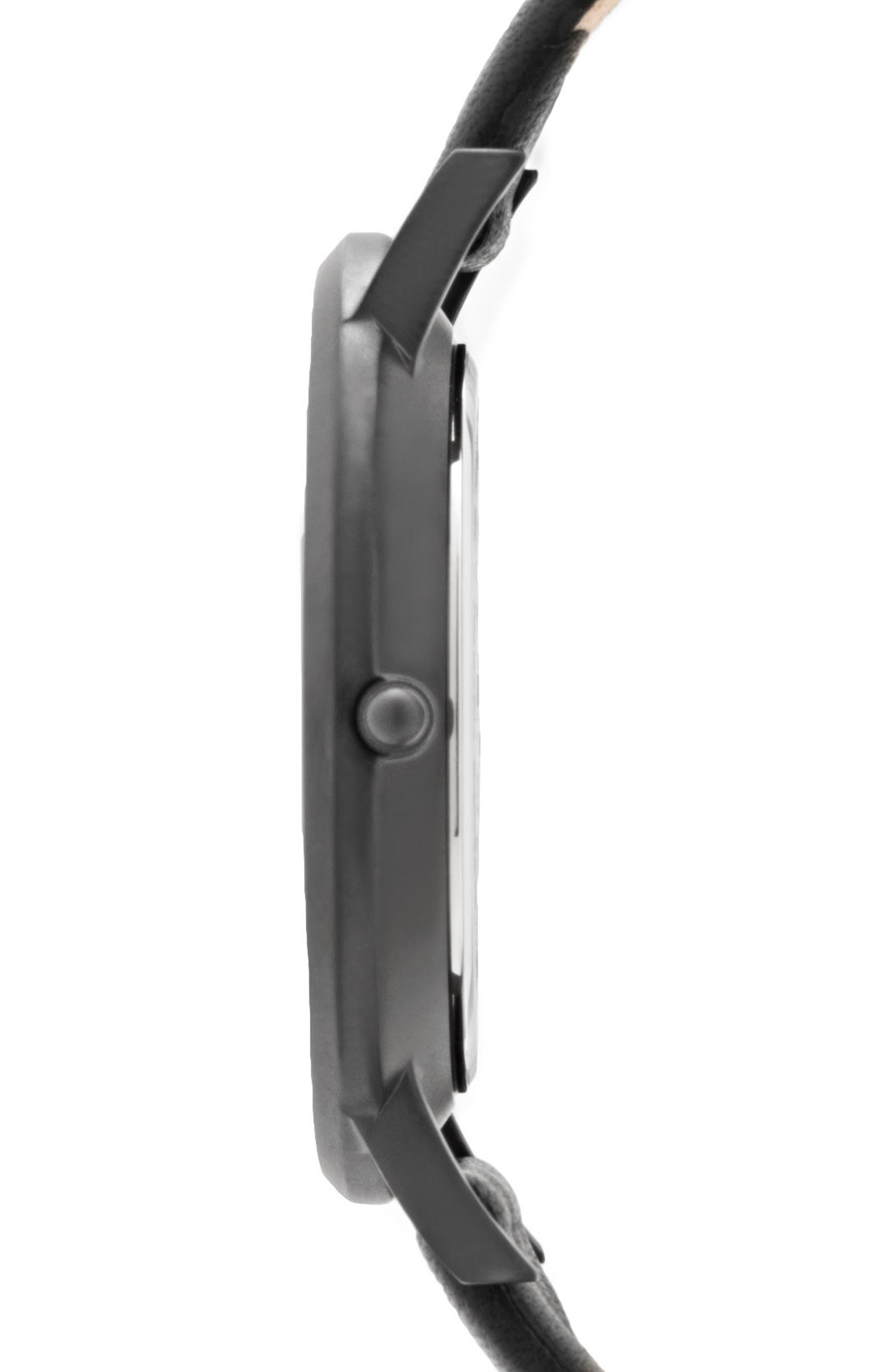 Leonard & Church Varick Leather Strap Watch, 40mm,                             Alternate thumbnail 2, color,                             Black