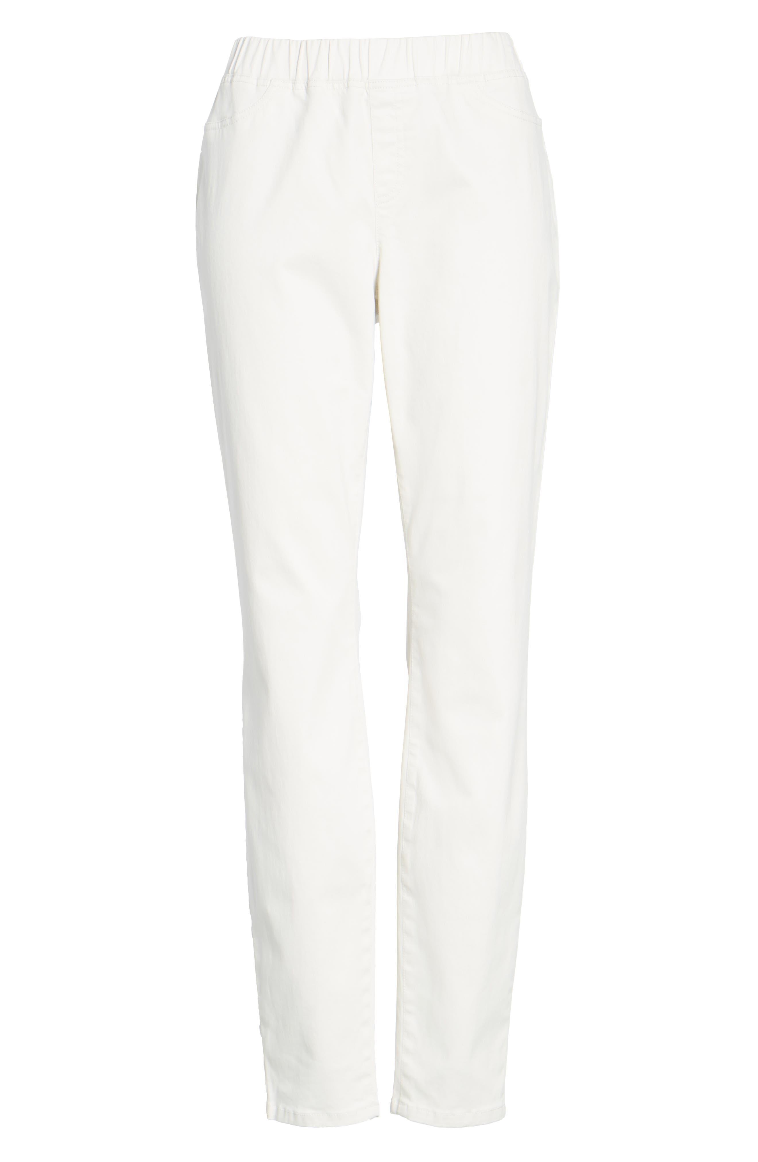 Stretch Organic Cotton Denim Skinny Pants,                             Alternate thumbnail 6, color,                             Bone