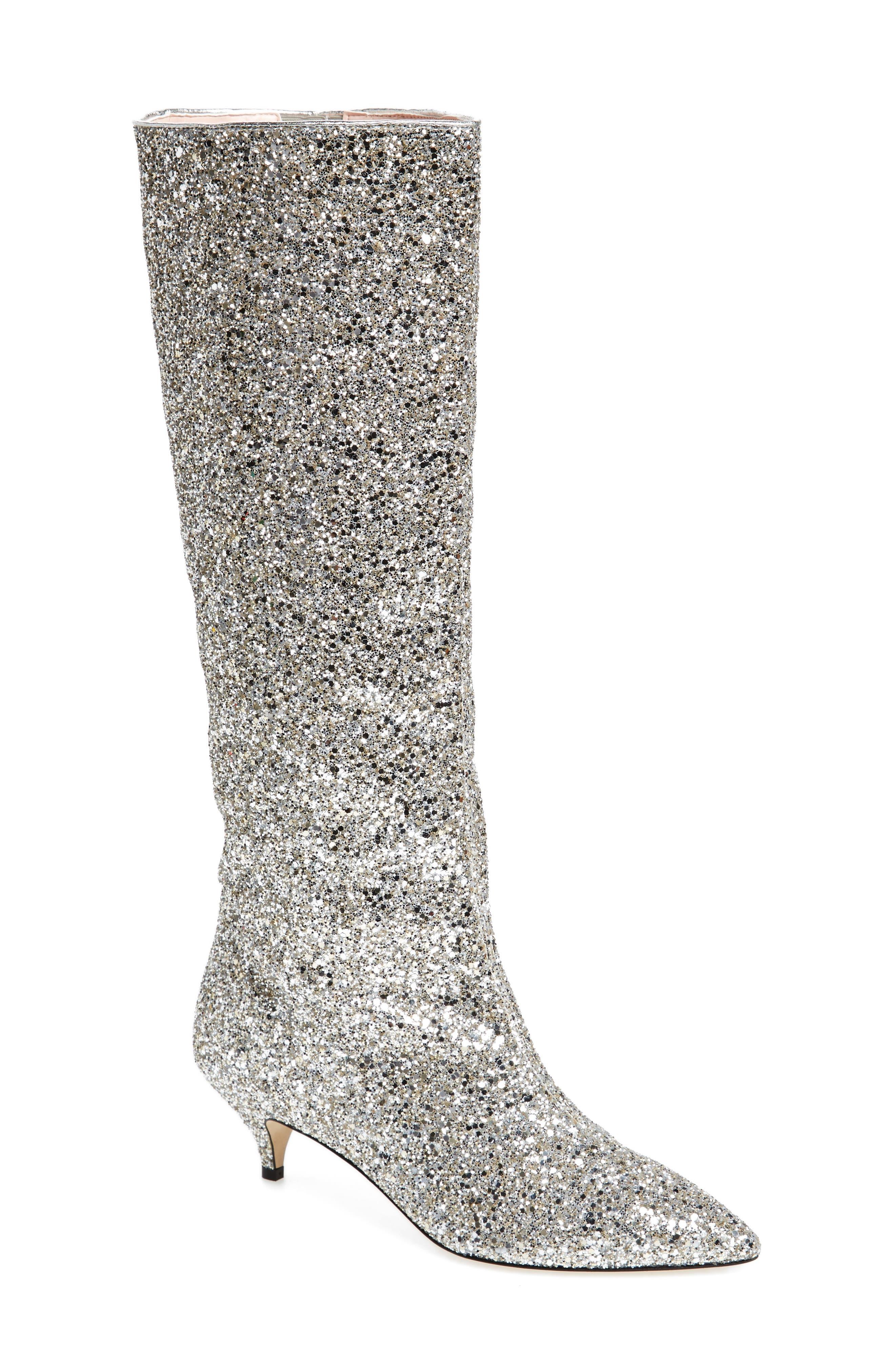 olina glitter knee high boot,                         Main,                         color, Silver/ Gold Glitter