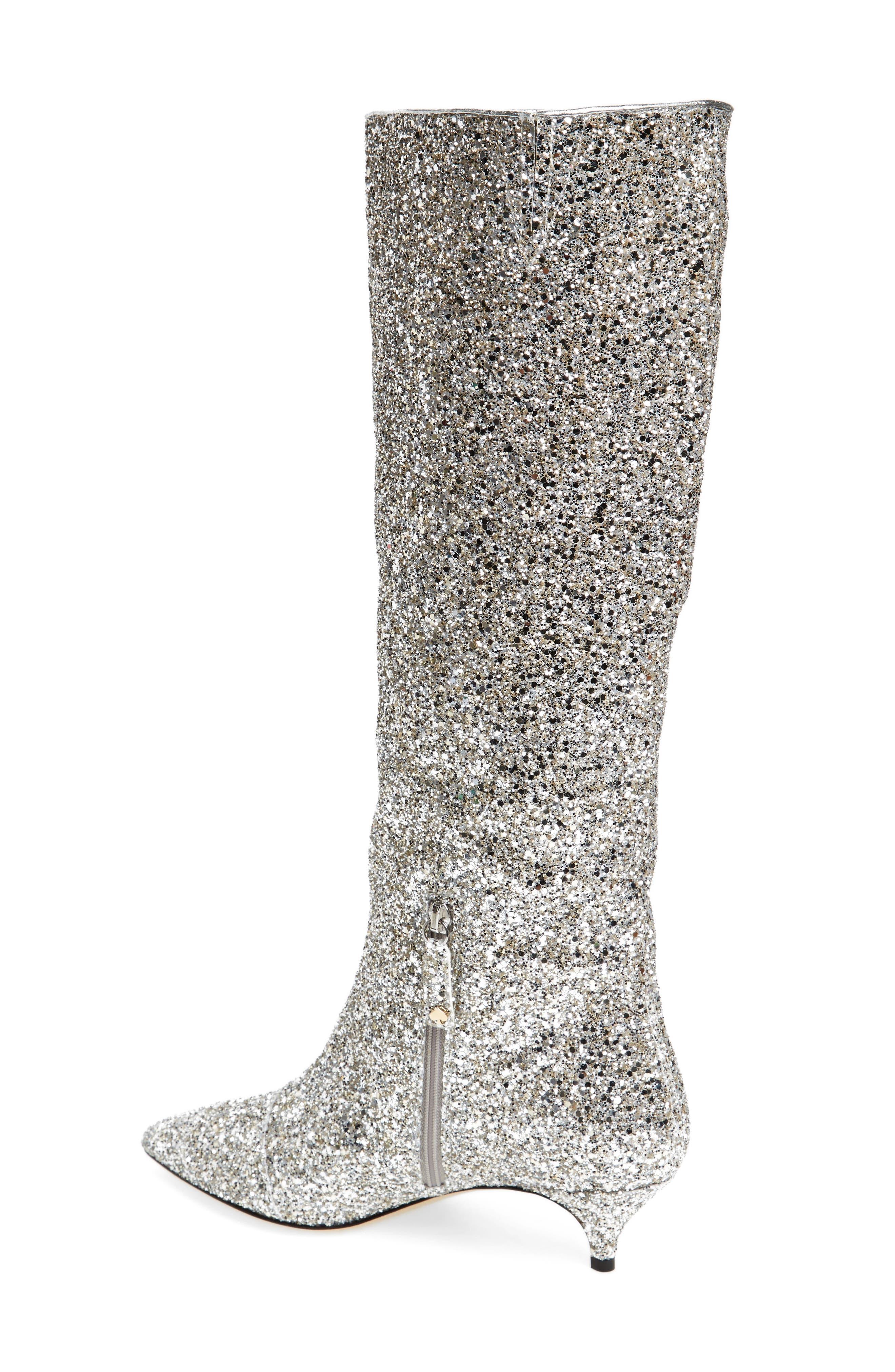olina glitter knee high boot,                             Alternate thumbnail 2, color,                             Silver/ Gold Glitter