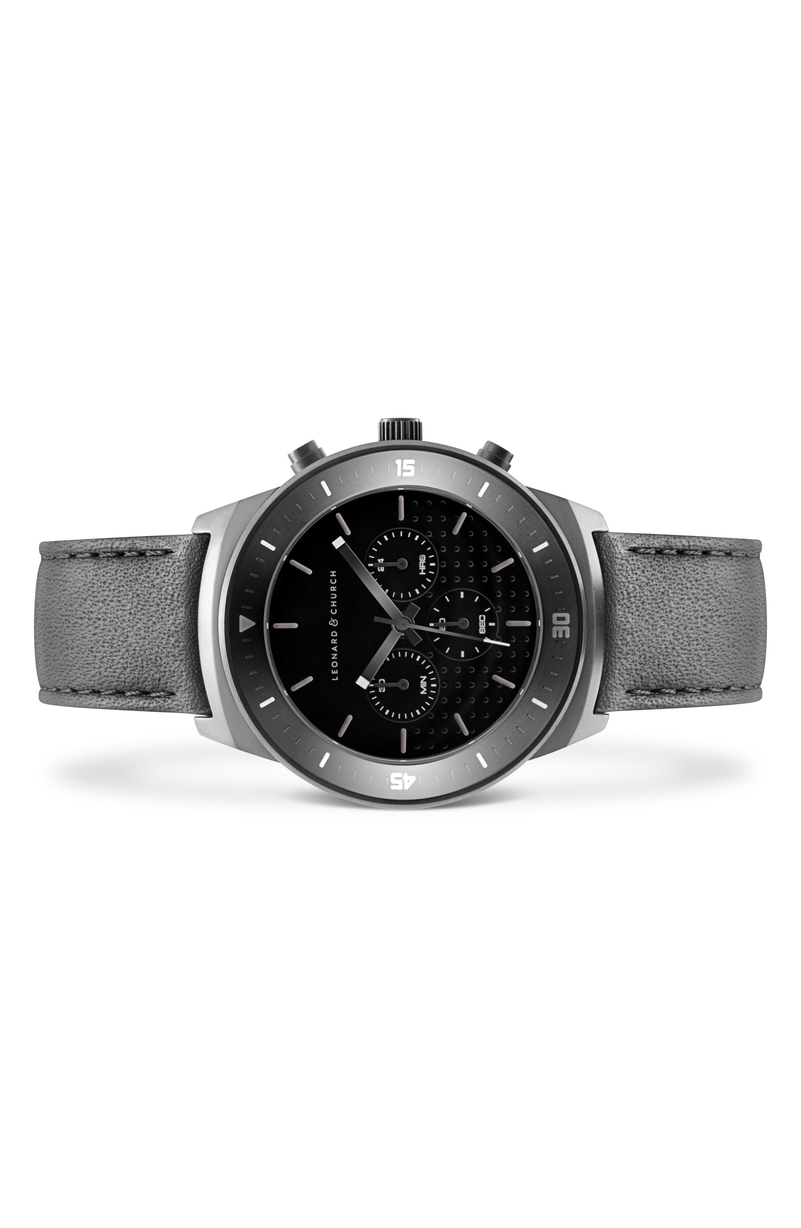 Leonard & Church Irving Chronograph Leather Strap Watch, 44mm,                             Alternate thumbnail 2, color,                             Black