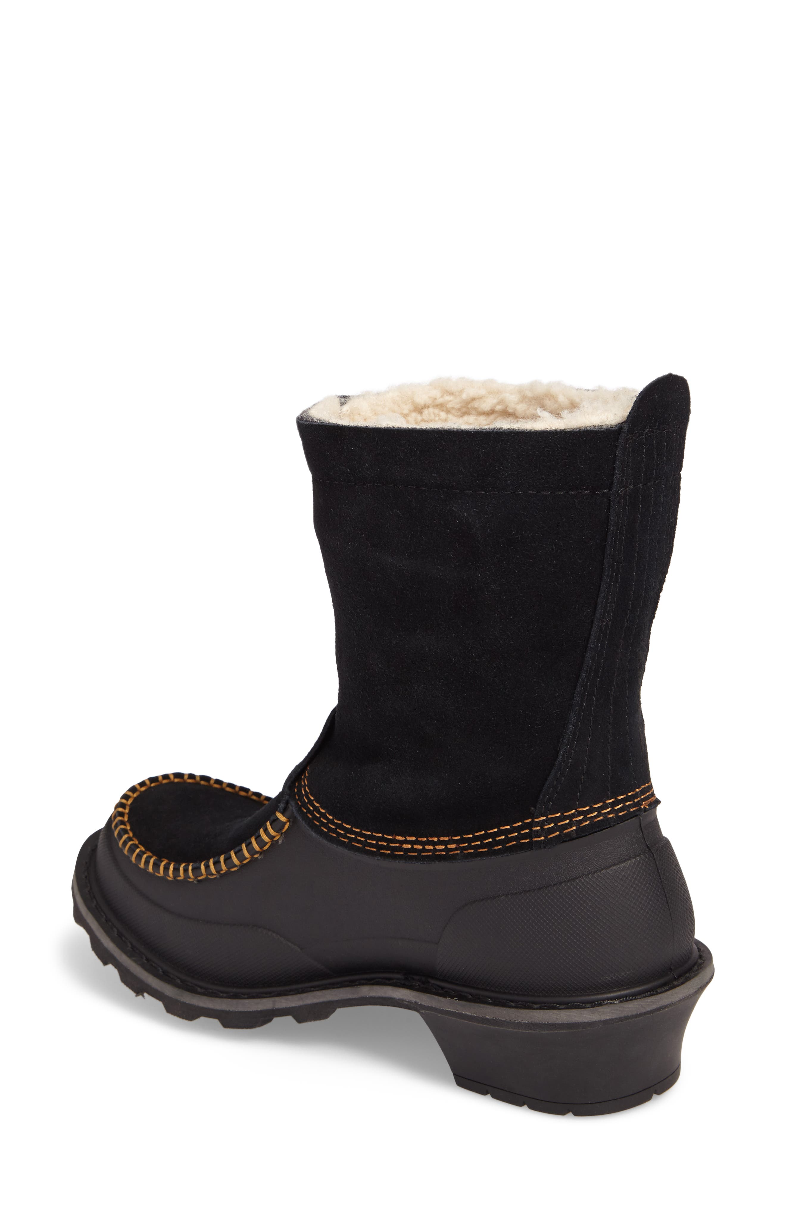Fully Wooly Waterproof Winter Boot,                             Alternate thumbnail 2, color,                             Black Leather