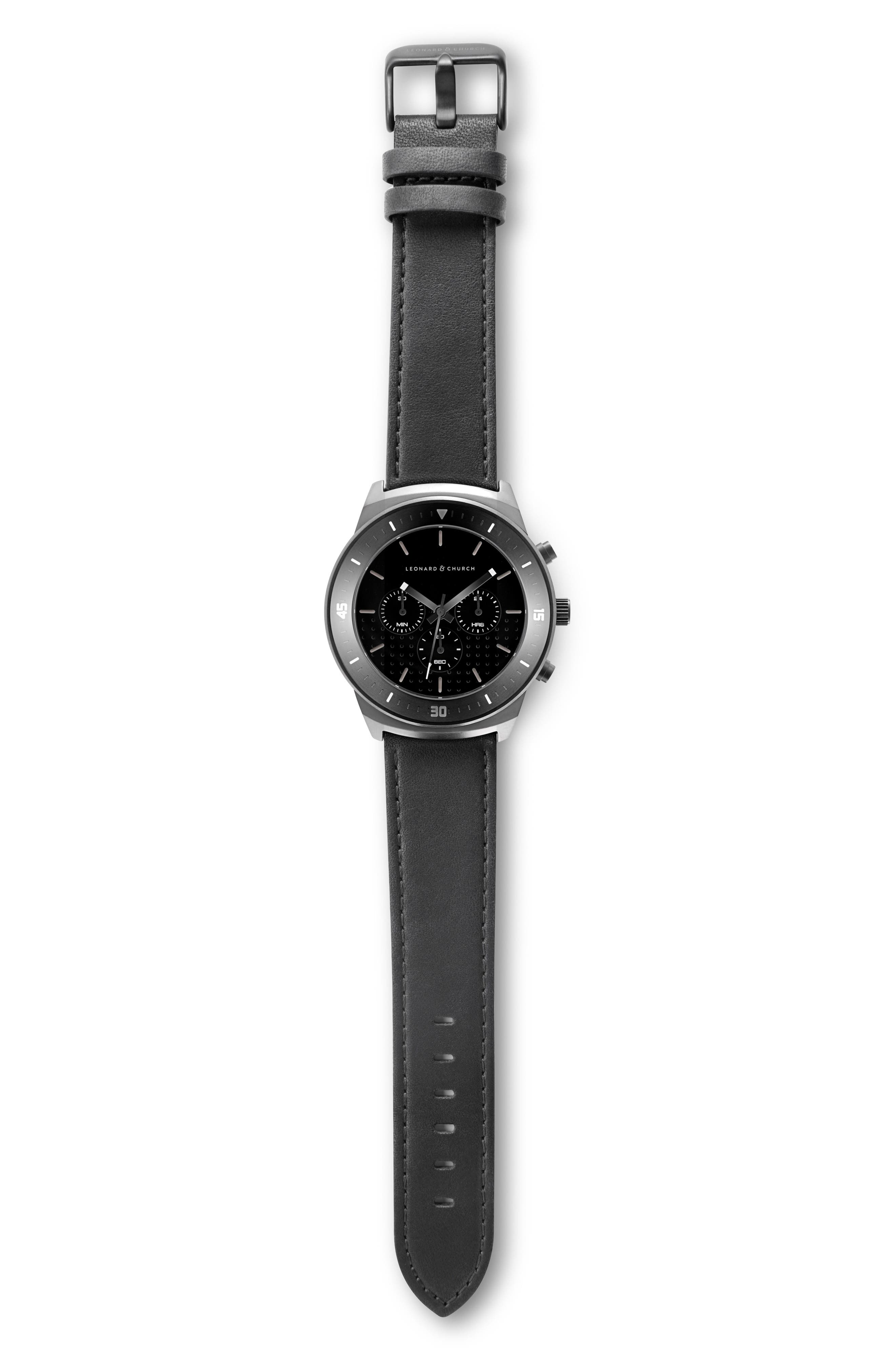 Leonard & Church Irving Chronograph Leather Strap Watch, 44mm,                             Alternate thumbnail 4, color,                             Black