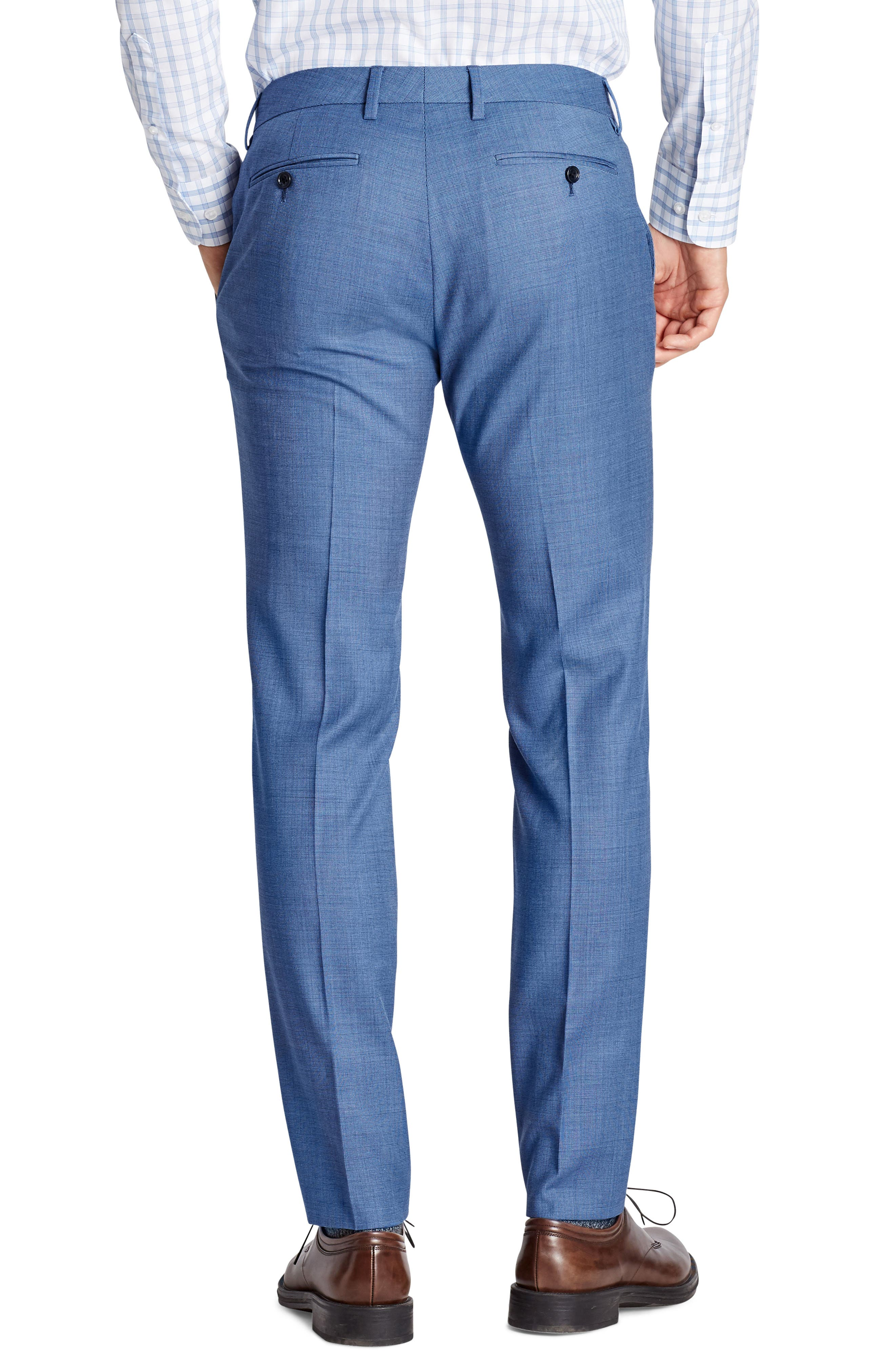 Jetsetter Flat Front Solid Stretch Wool Trousers,                             Alternate thumbnail 2, color,                             Brighter Blue