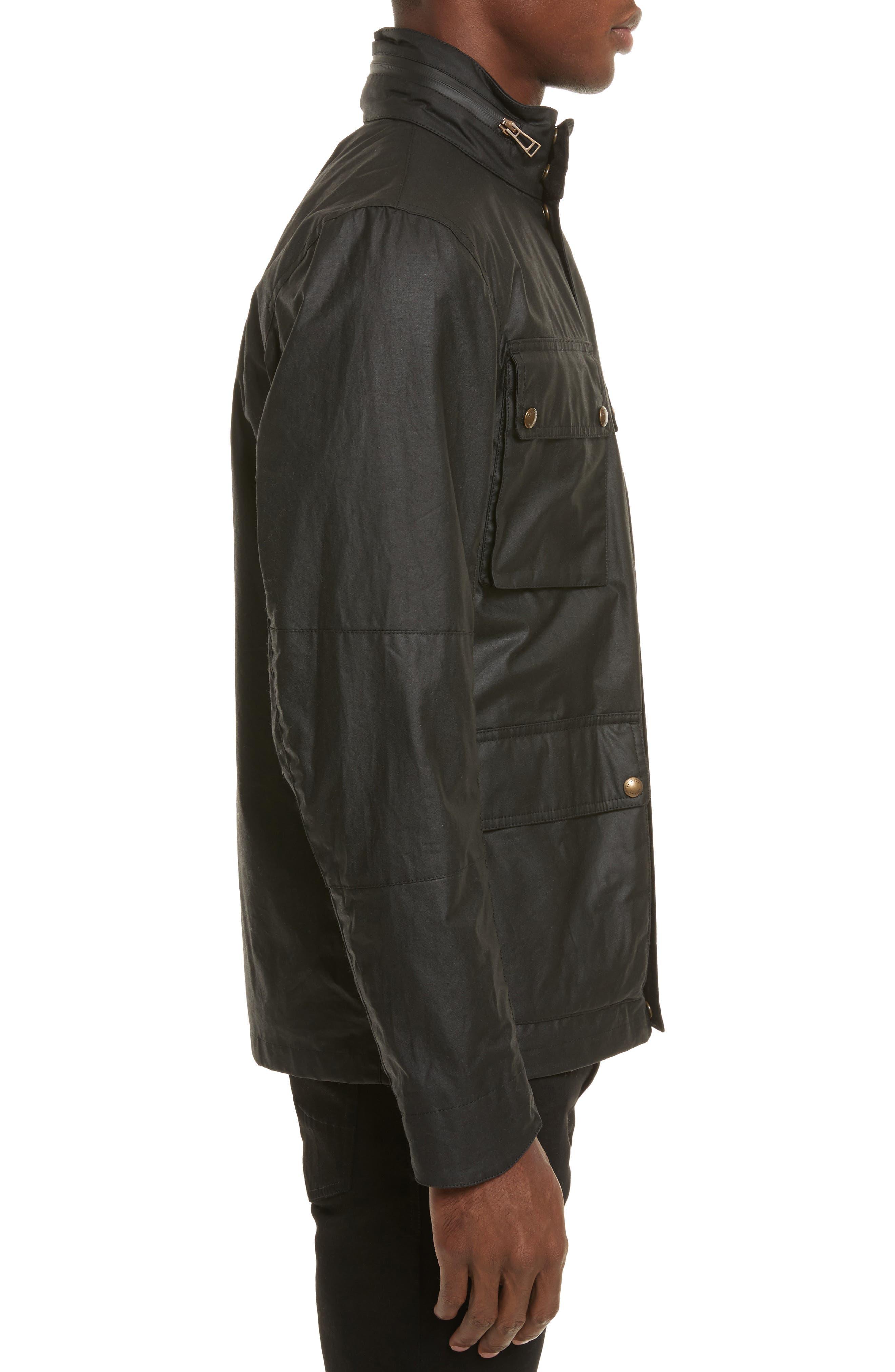 Explorer Waxed Cotton Jacket,                             Alternate thumbnail 3, color,                             Black