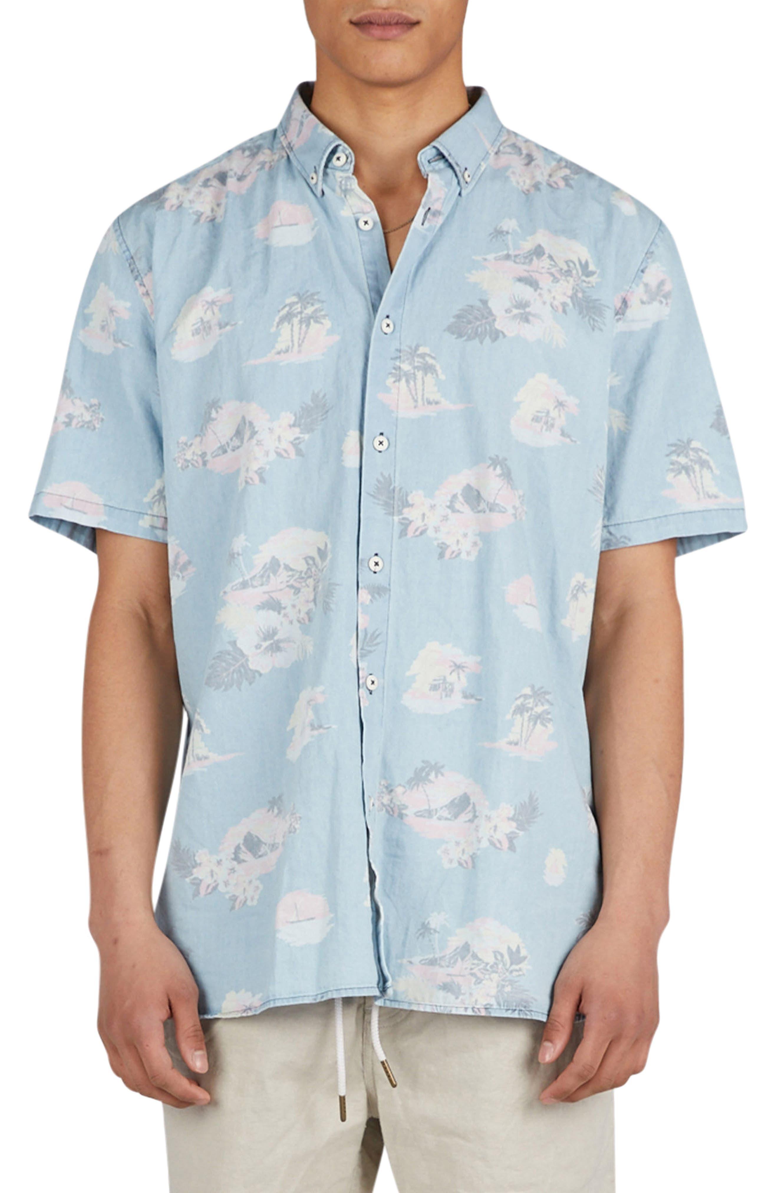 Tropical Print Woven Shirt,                             Main thumbnail 1, color,                             Indigo/ Floral