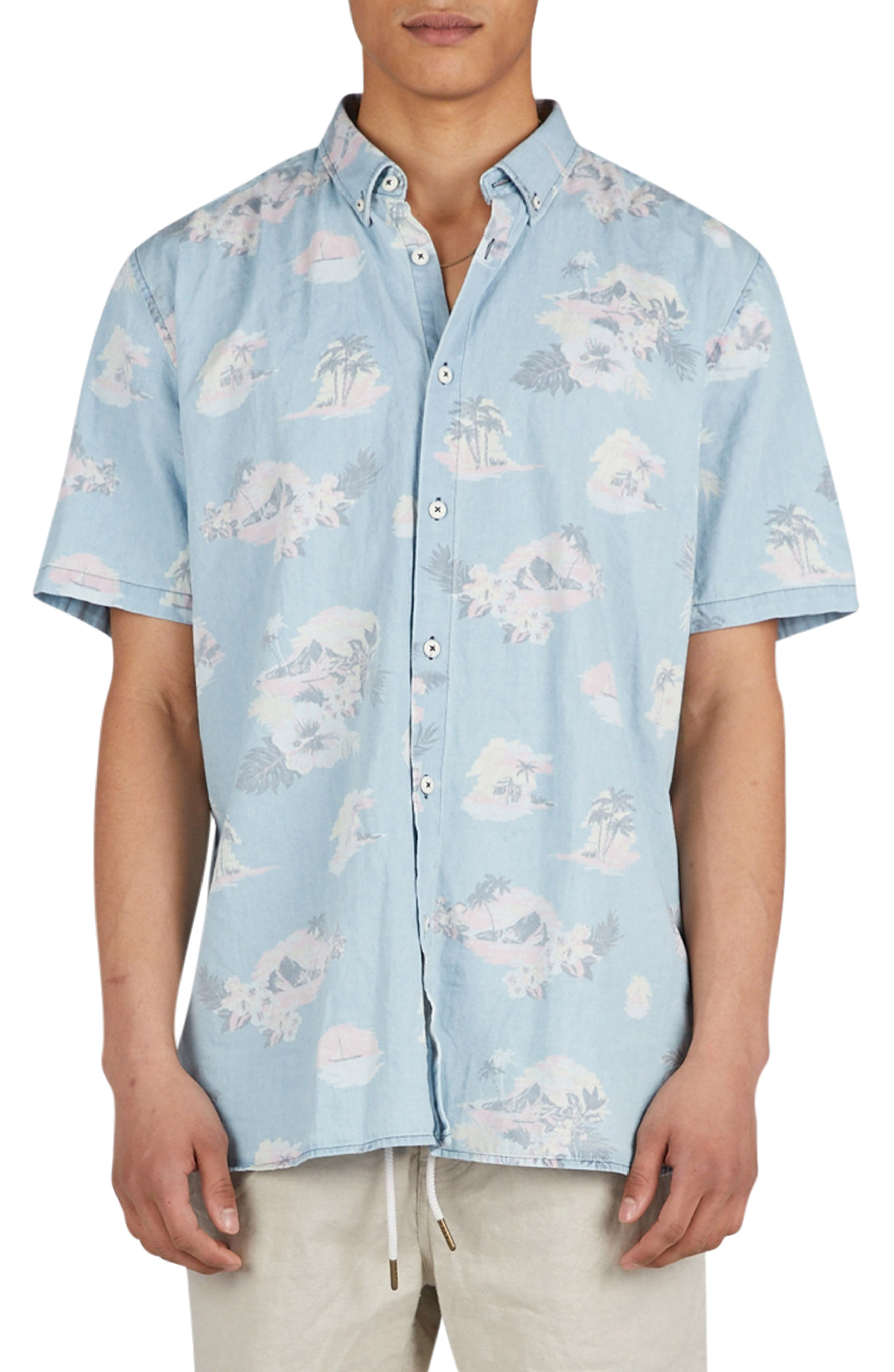 Barney Cools Tropical Print Woven Shirt