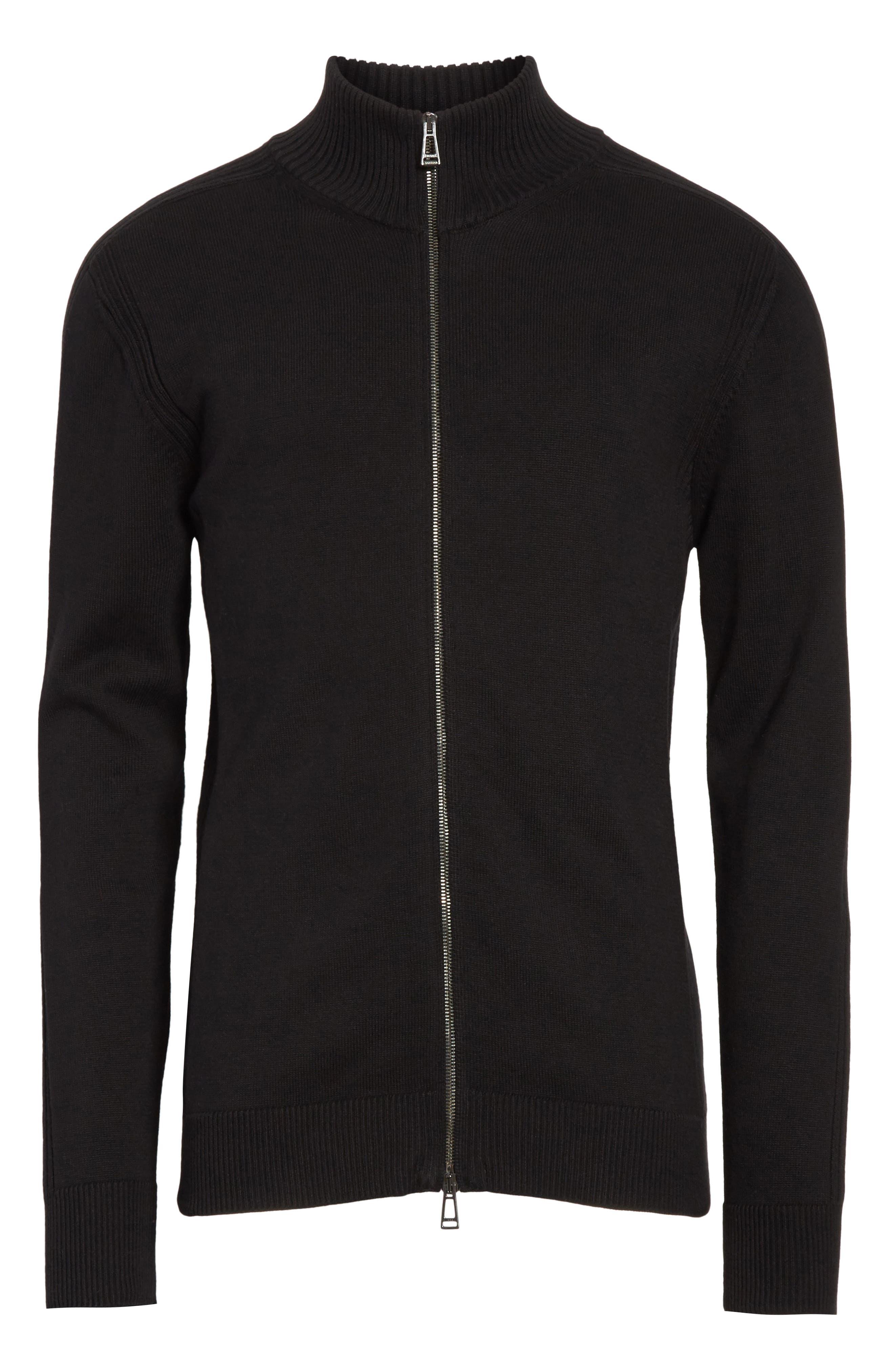 Allerford Knit Cotton Jacket,                             Alternate thumbnail 6, color,                             Black