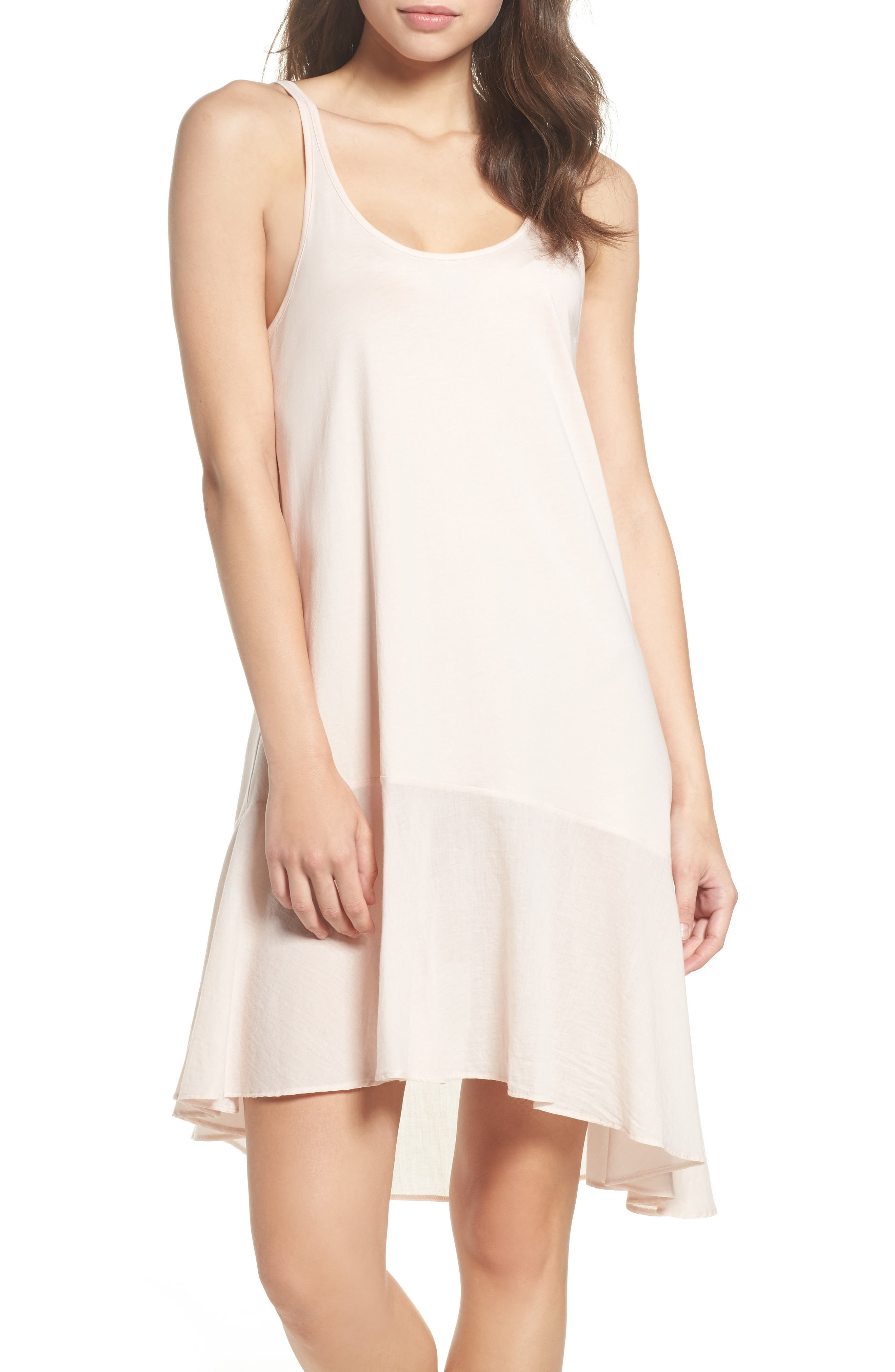 Pima Cotton High/Low Nightgown,                             Main thumbnail 1, color,                             Powder Pink