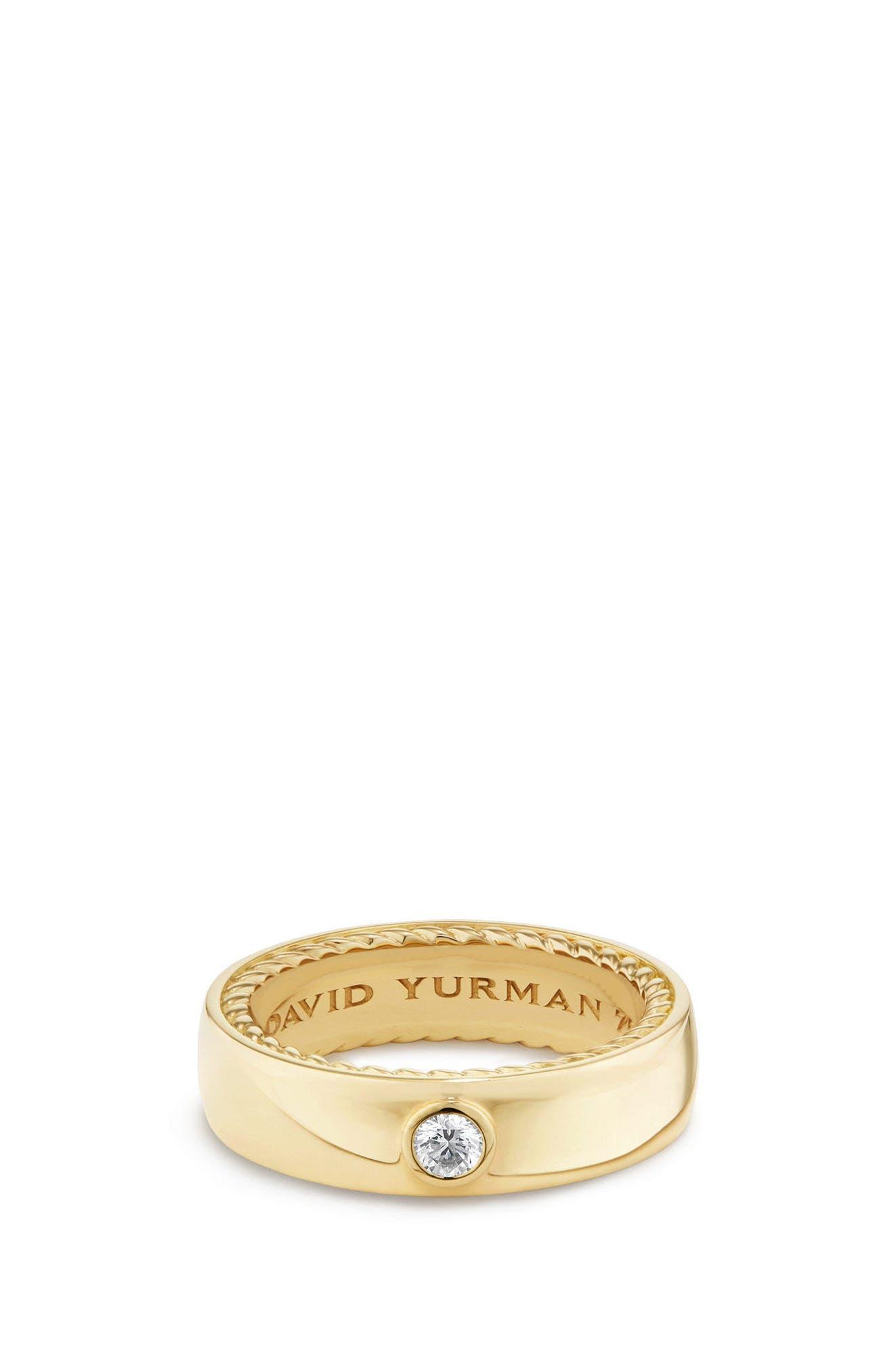 David Yurman Streamline Band Ring with Diamond, 6mm
