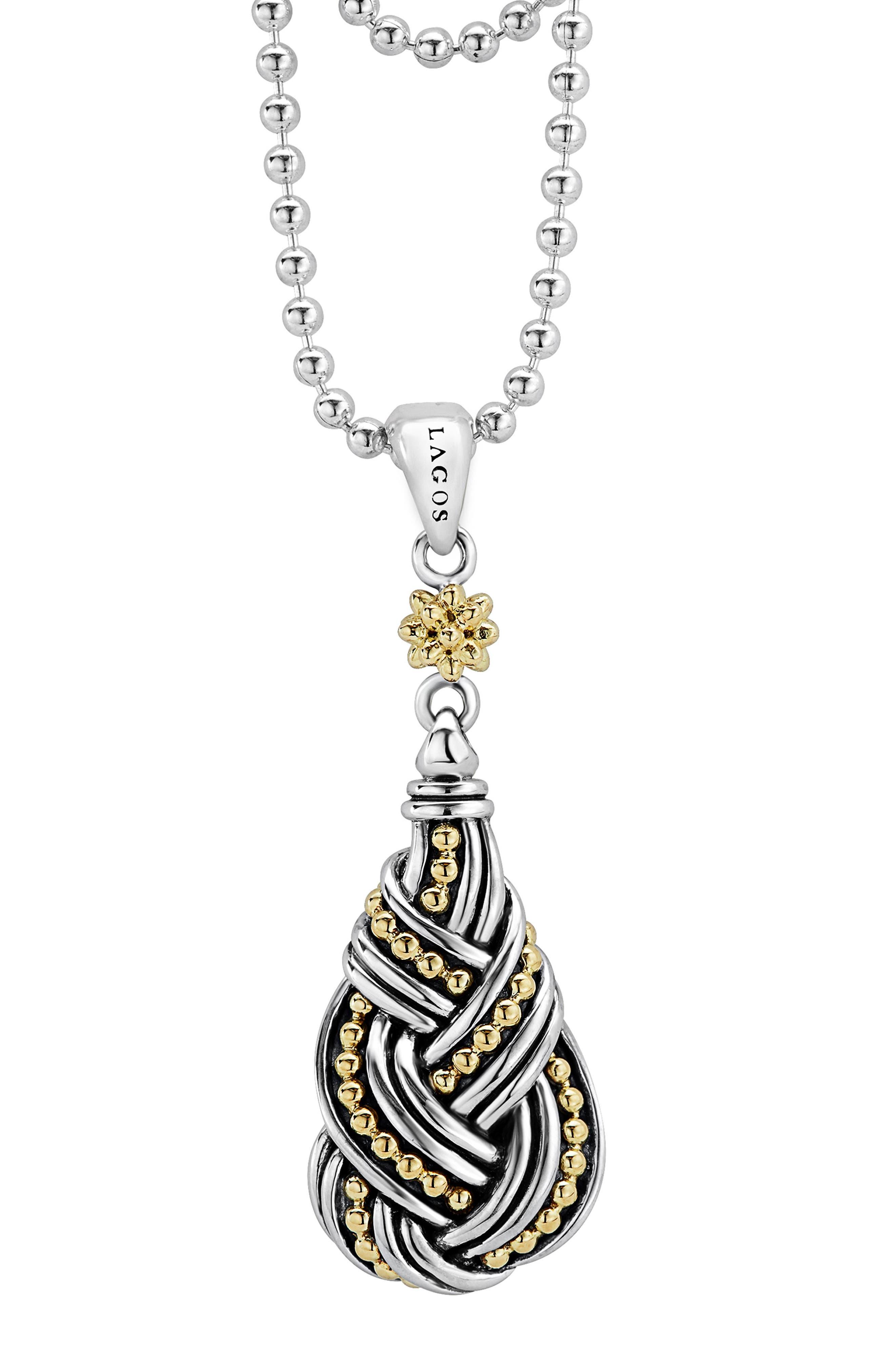 Torsade Long Pendant Necklace,                             Alternate thumbnail 3, color,                             Silver/ Gold