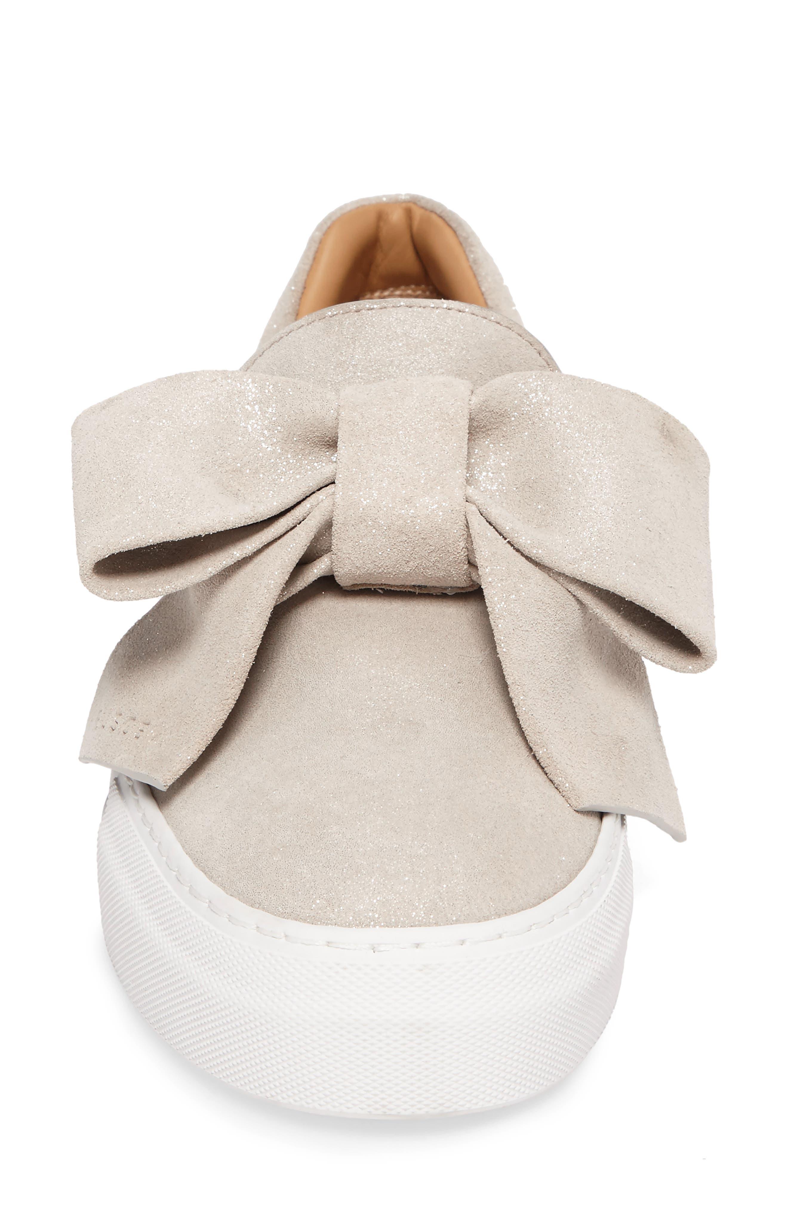 Bow Slip-On Sneaker,                             Alternate thumbnail 4, color,                             Gleam Grey
