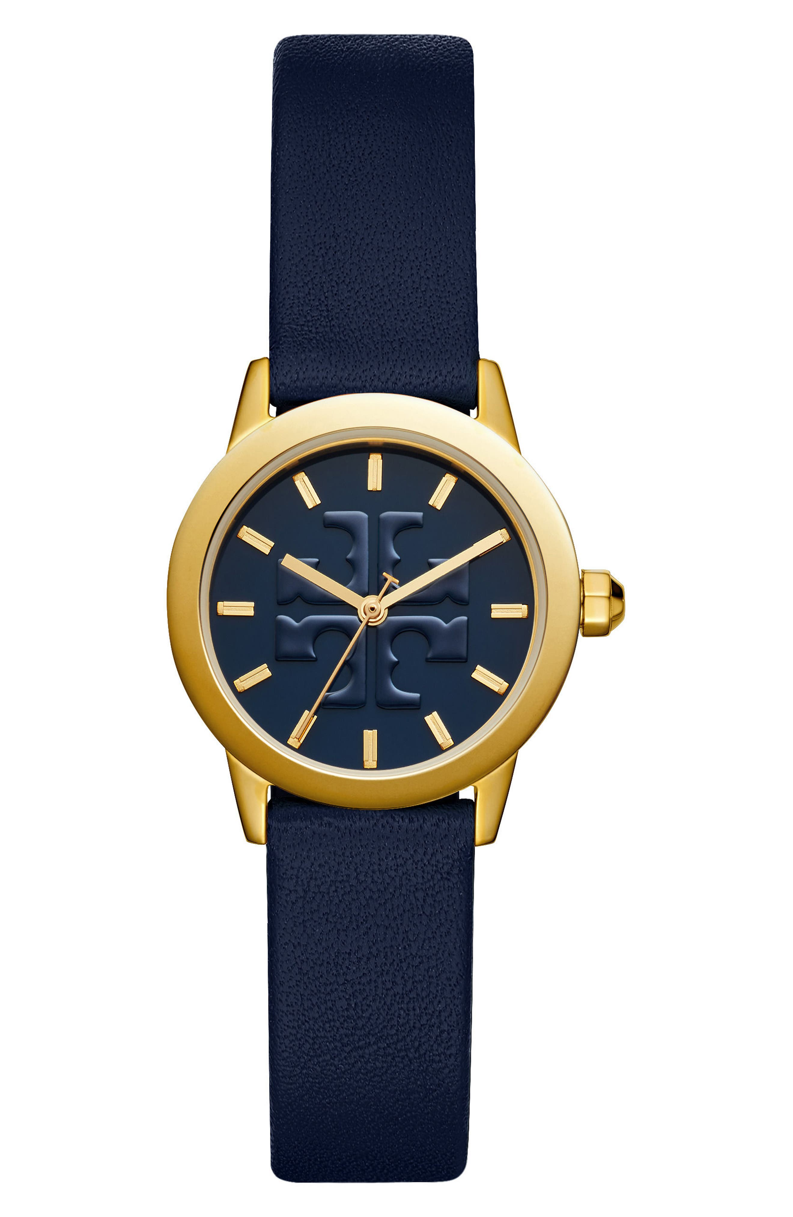 Gigi Leather Strap Watch, 28mm,                             Main thumbnail 1, color,                             Navy/ Gold