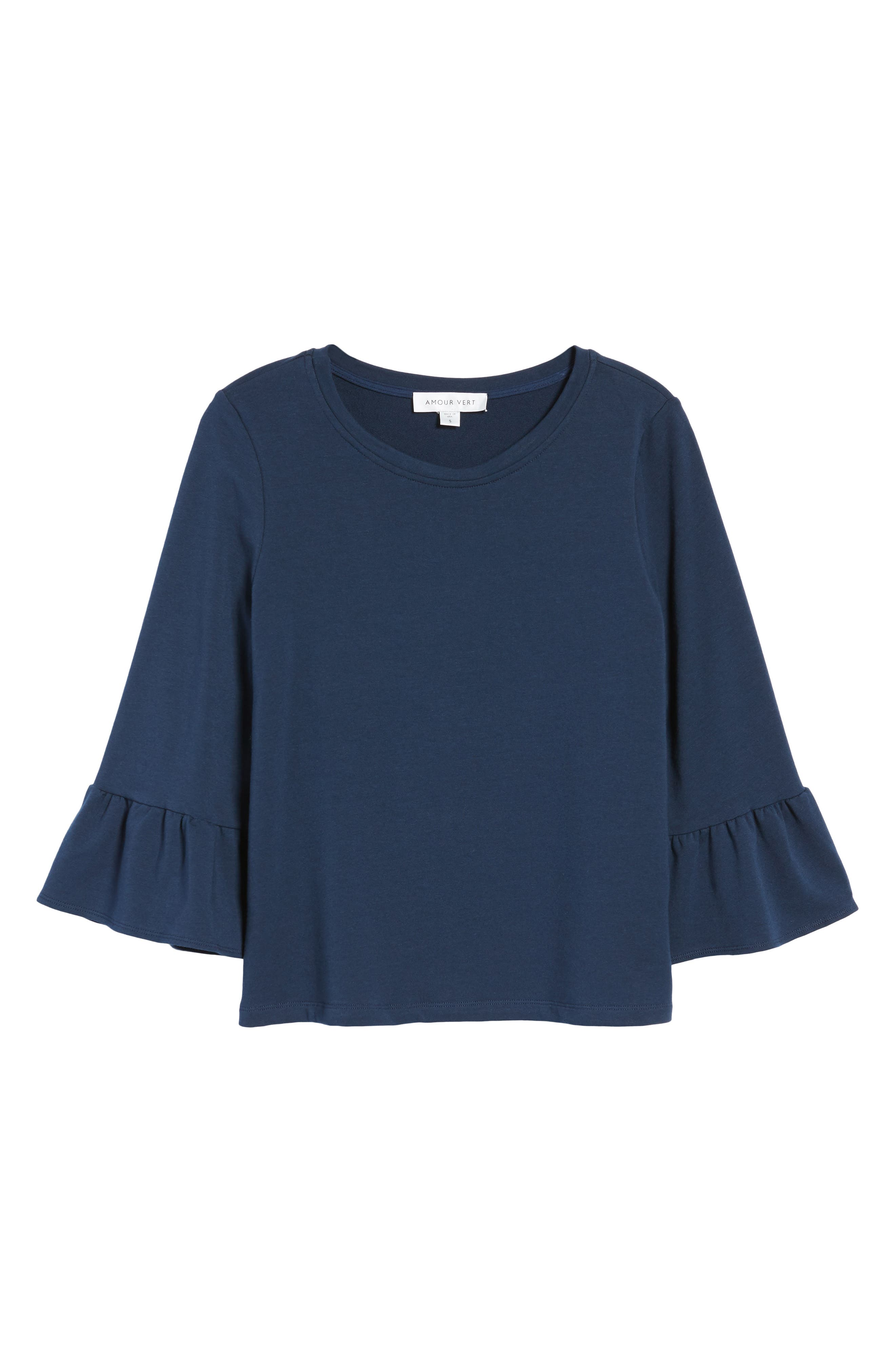Bernadette Bell Sleeve Sweatshirt,                             Alternate thumbnail 6, color,                             Navy