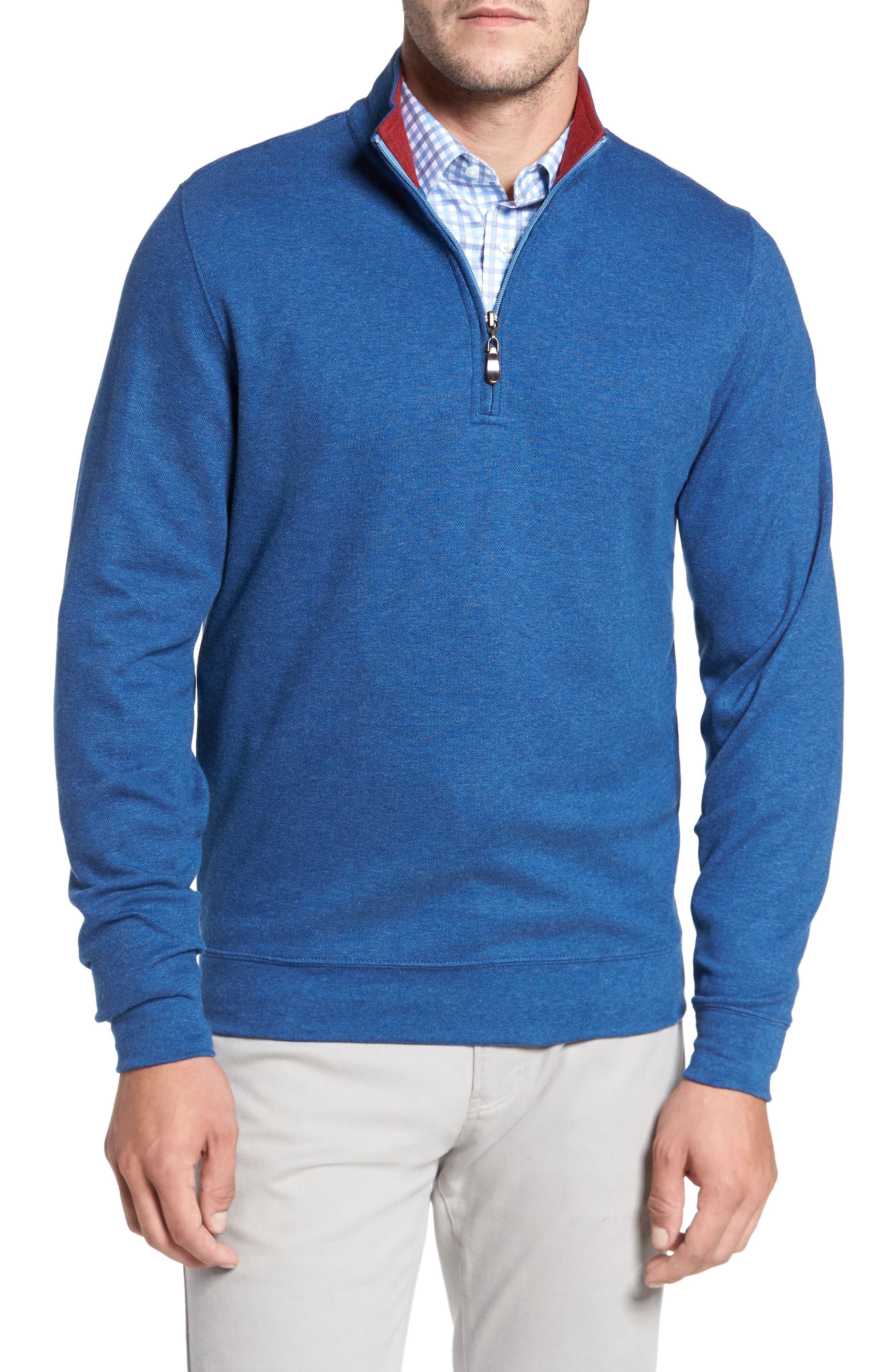 Mélange Quarter Zip Pullover,                             Main thumbnail 1, color,                             Blue