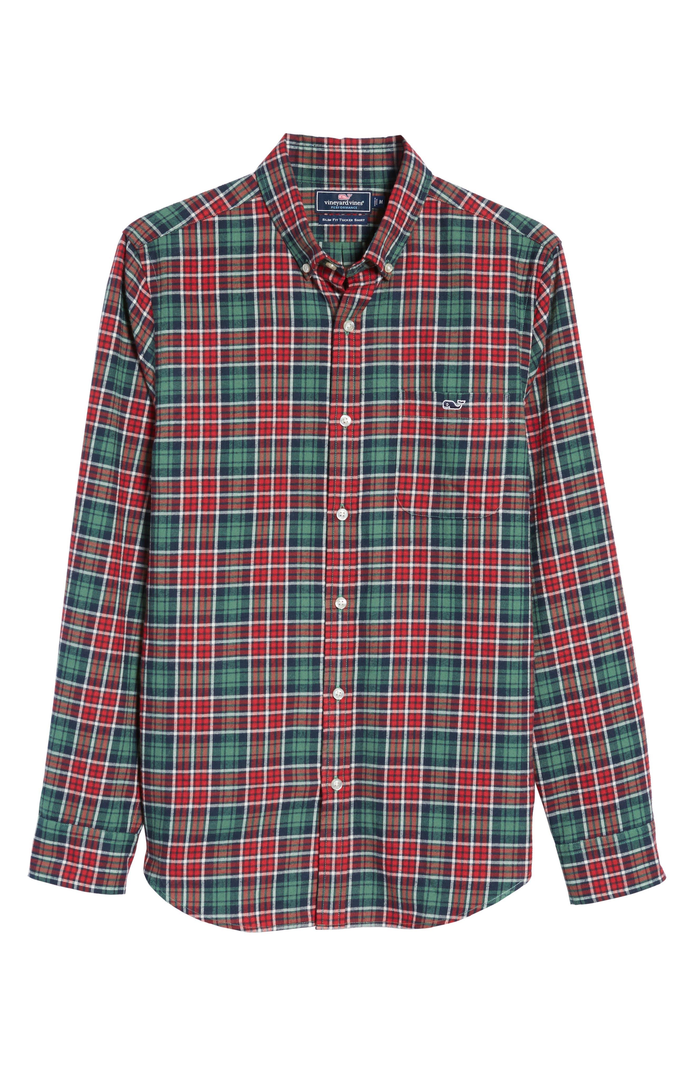 Tucker Bold Point Slim Fit Plaid Sport Shirt,                             Alternate thumbnail 6, color,                             Charleston Green